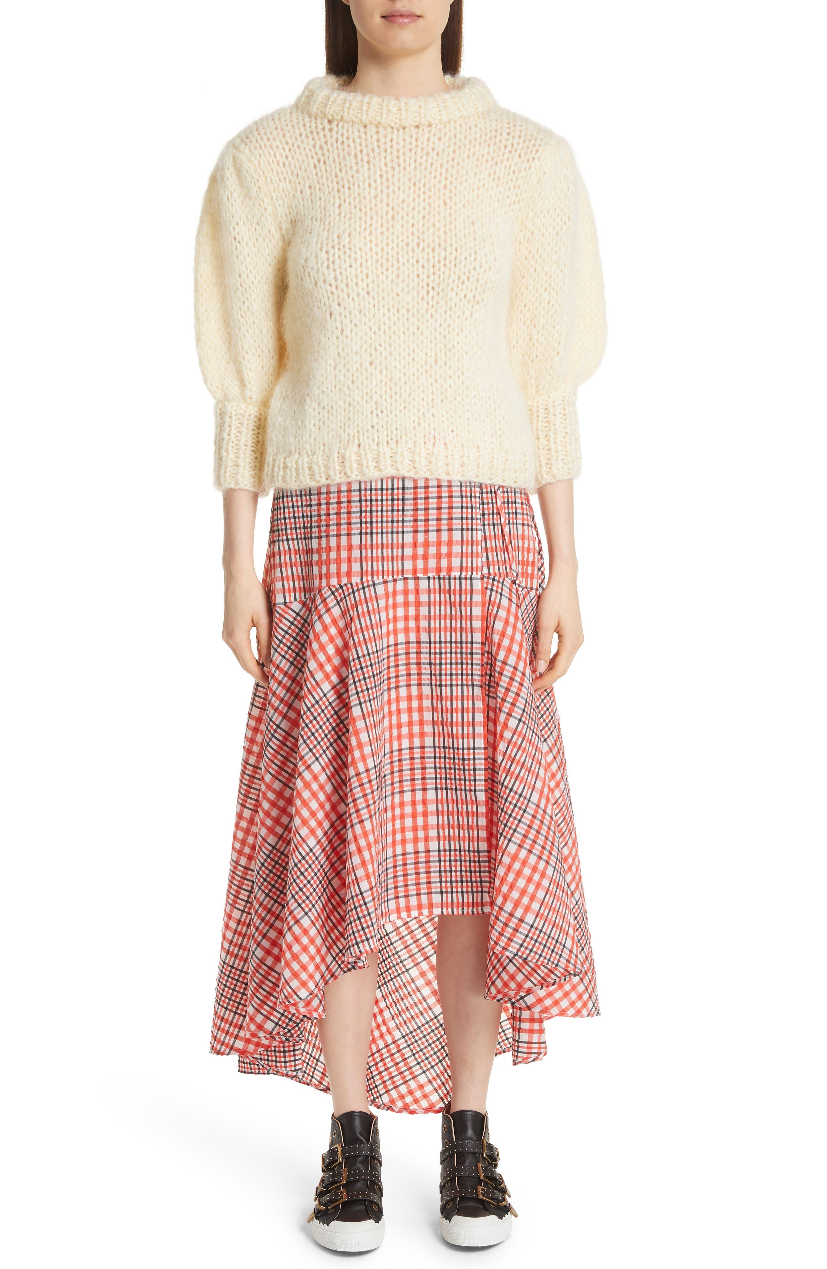 Juilliard Mohair & Wool Puff Sleeve Sweater,                             Alternate thumbnail 7, color,                             900