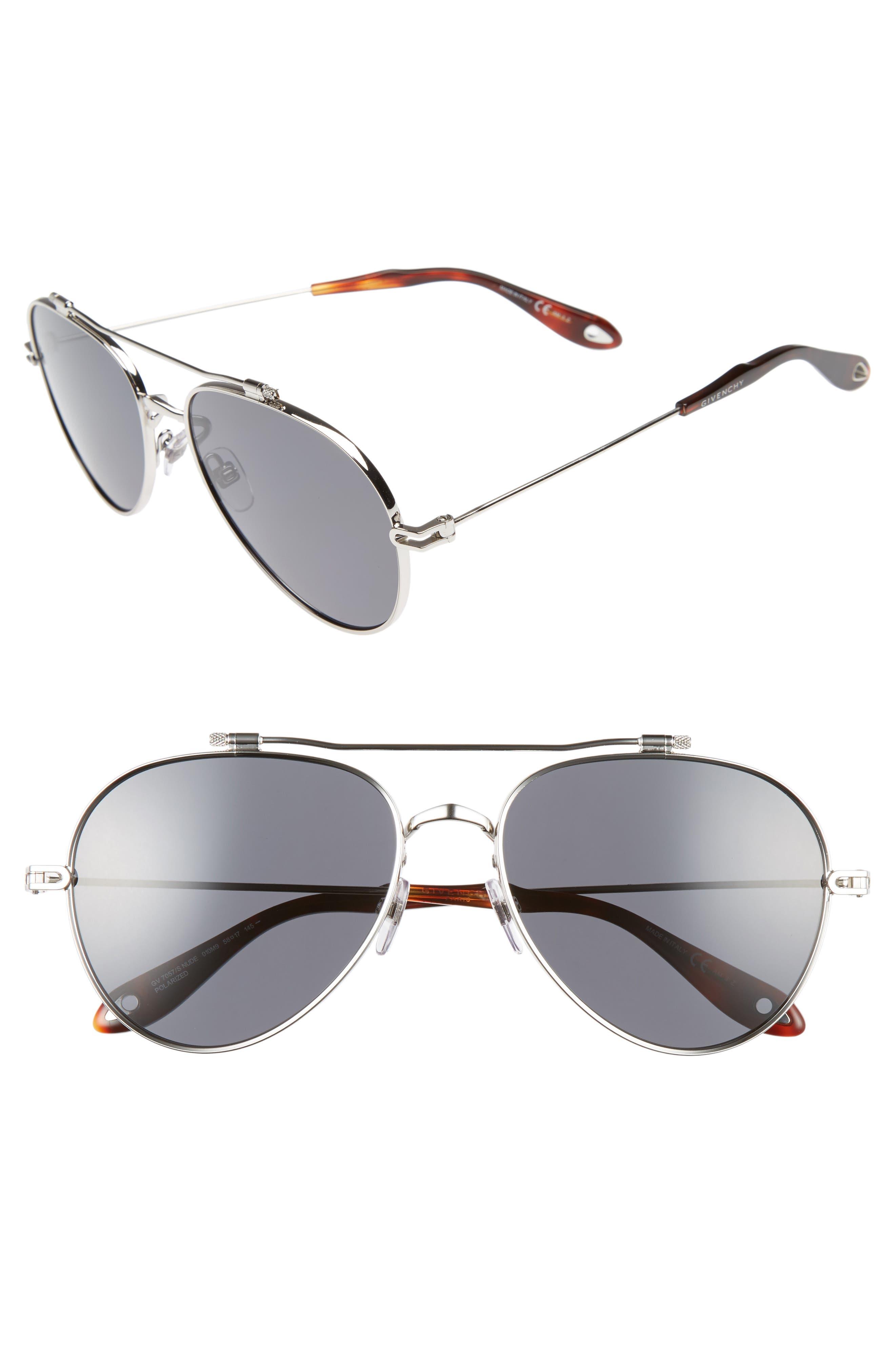 58mm Polarized Aviator Sunglasses,                             Main thumbnail 1, color,                             PALLADIUM