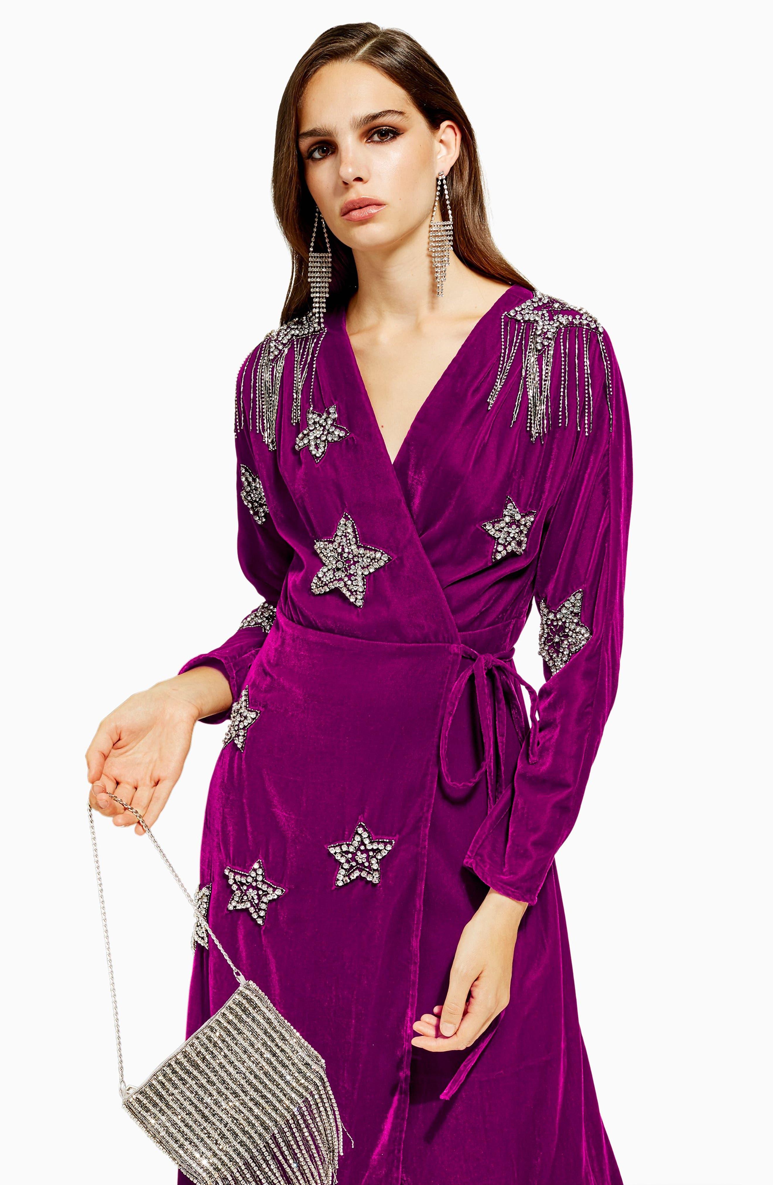 Velvet Embroidered Wrap Dress,                             Alternate thumbnail 5, color,                             540