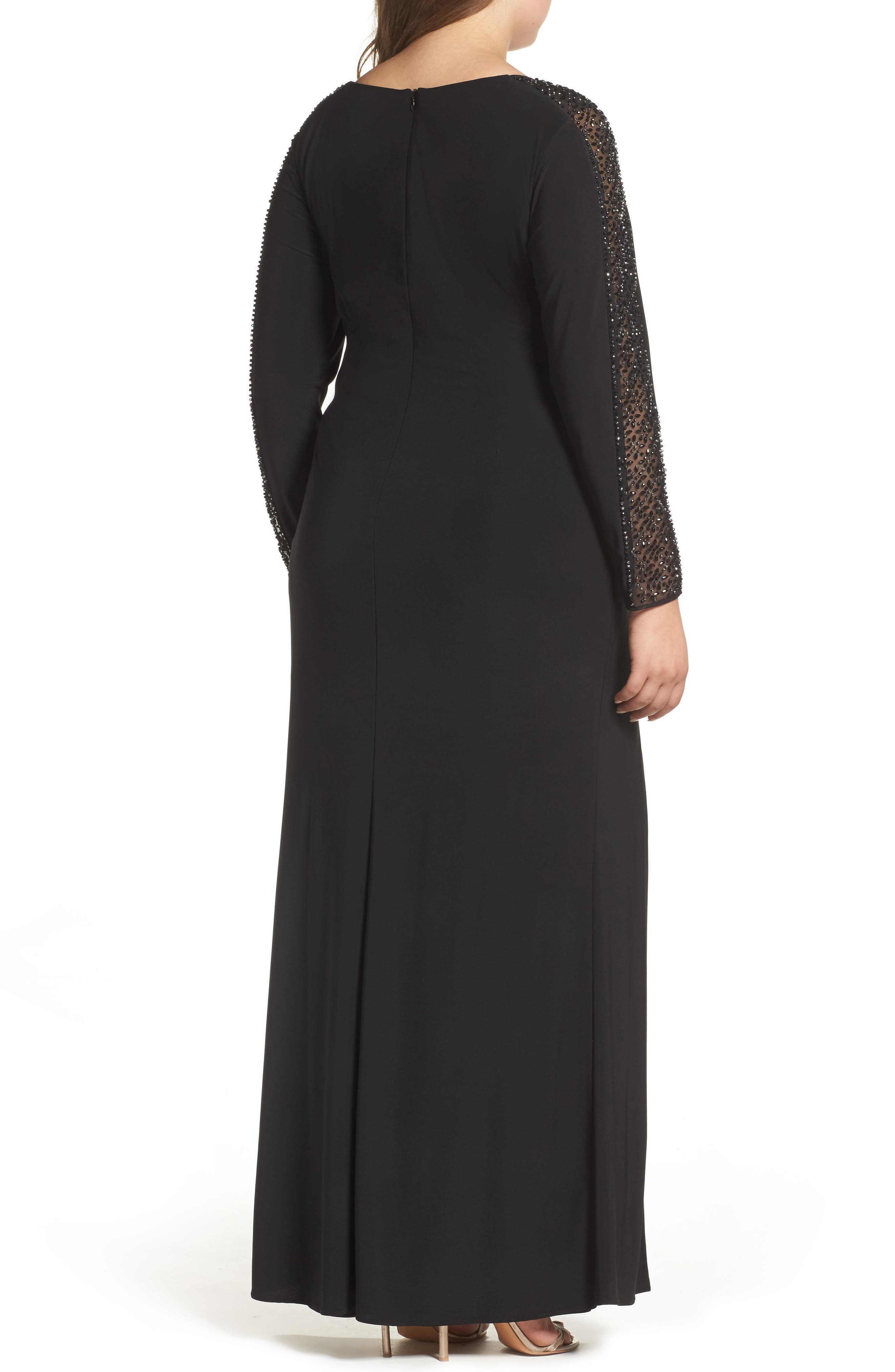 Embellished Jersey A-Line Gown,                             Alternate thumbnail 3, color,