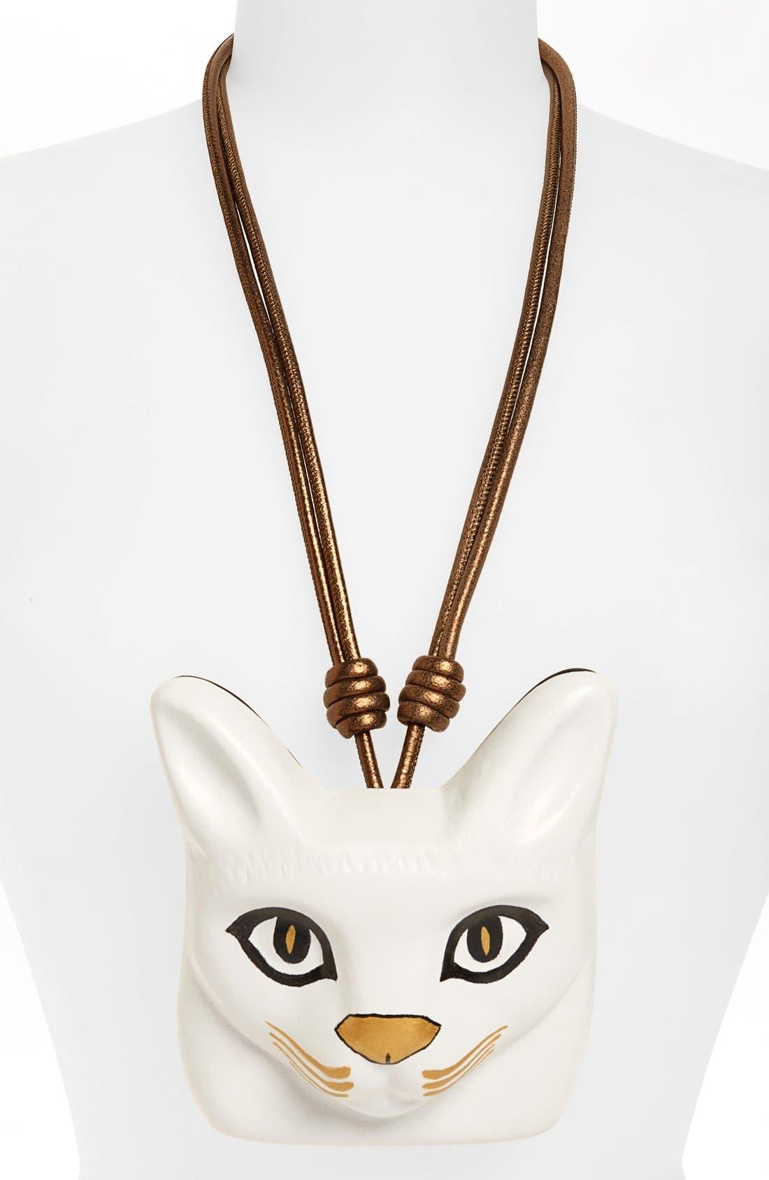 LOEWE,                             Cat Face Necklace,                             Alternate thumbnail 2, color,                             100