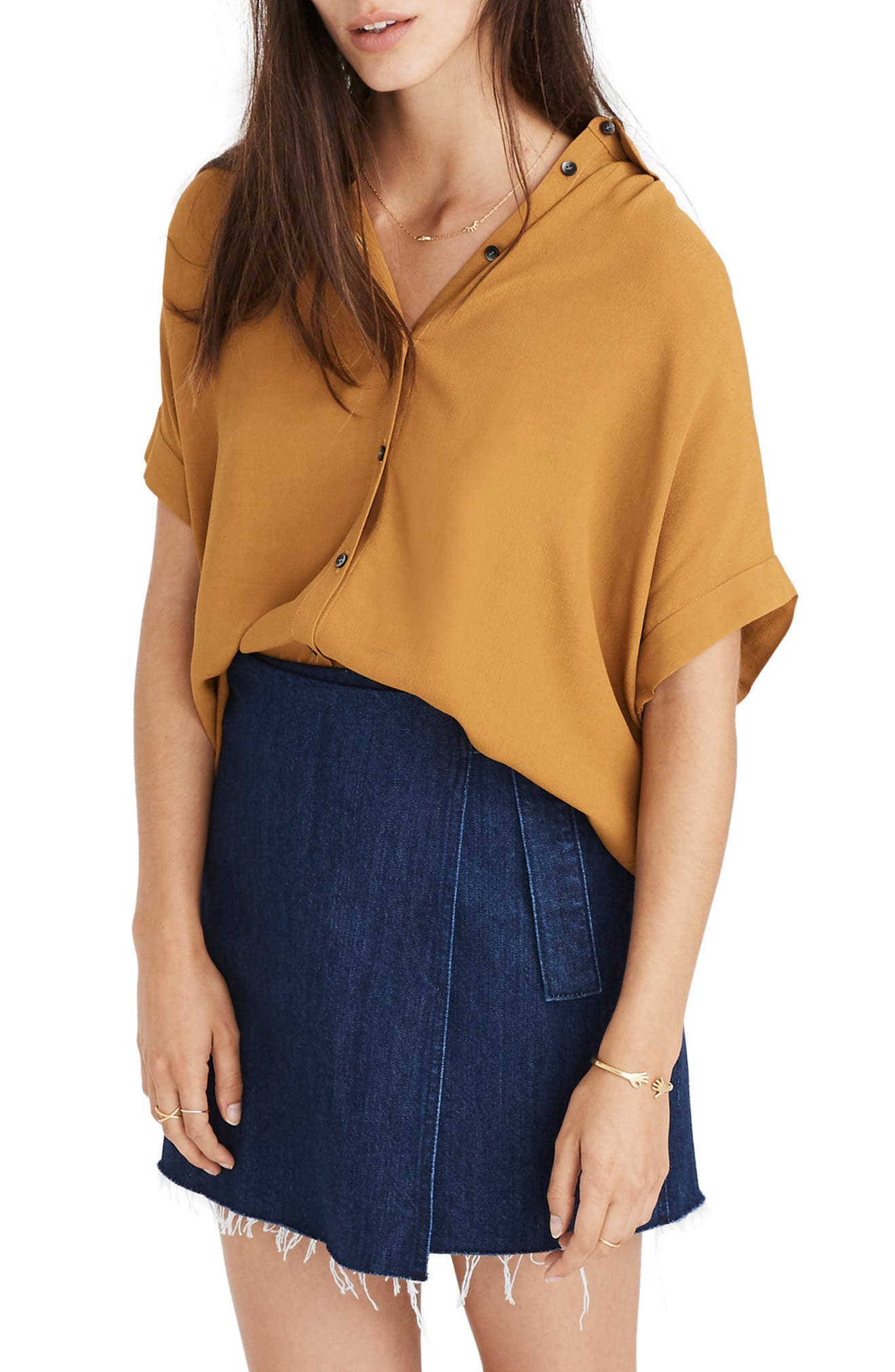 Central Drapey Shirt,                         Main,                         color, EGYPTIAN GOLD