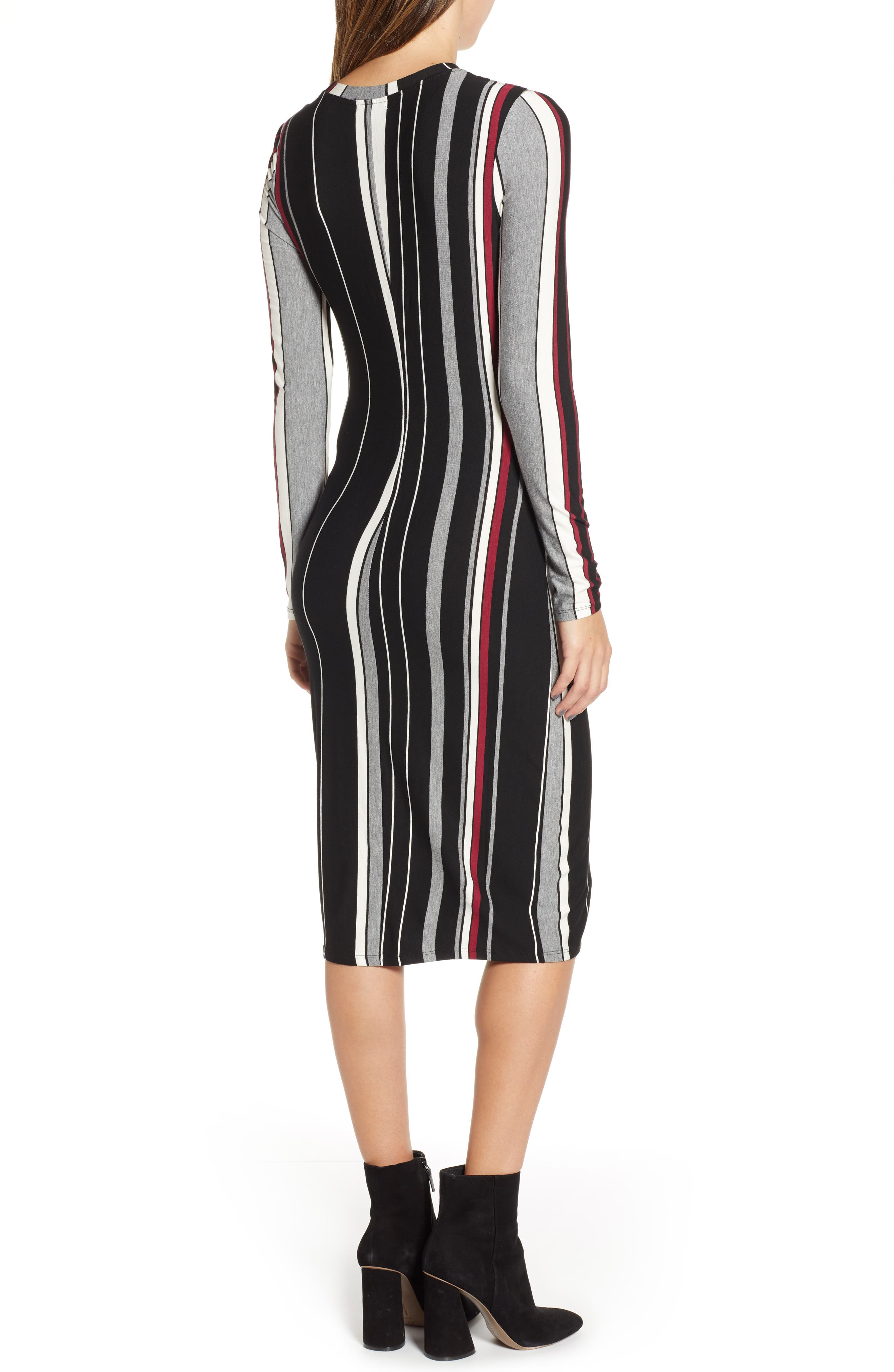 Wrap Front Midi Dress,                             Alternate thumbnail 2, color,                             002
