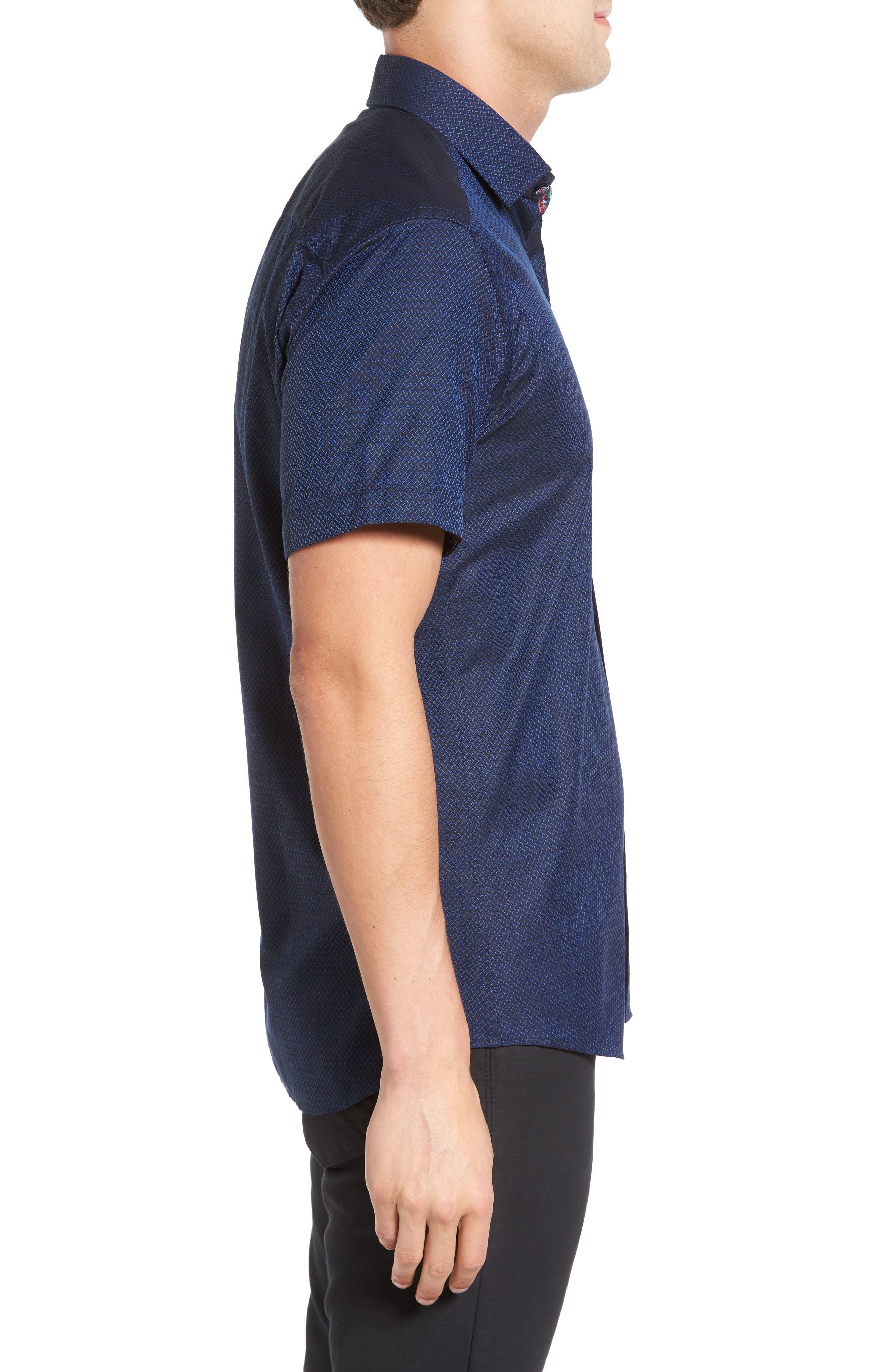Trim Fit Print Sport Shirt,                             Alternate thumbnail 3, color,                             410