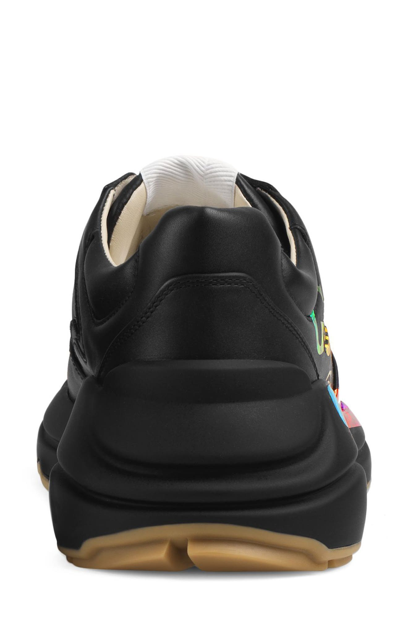 Rhyton Rainbow Sneaker,                             Alternate thumbnail 5, color,                             BLACK/ RAINBOW
