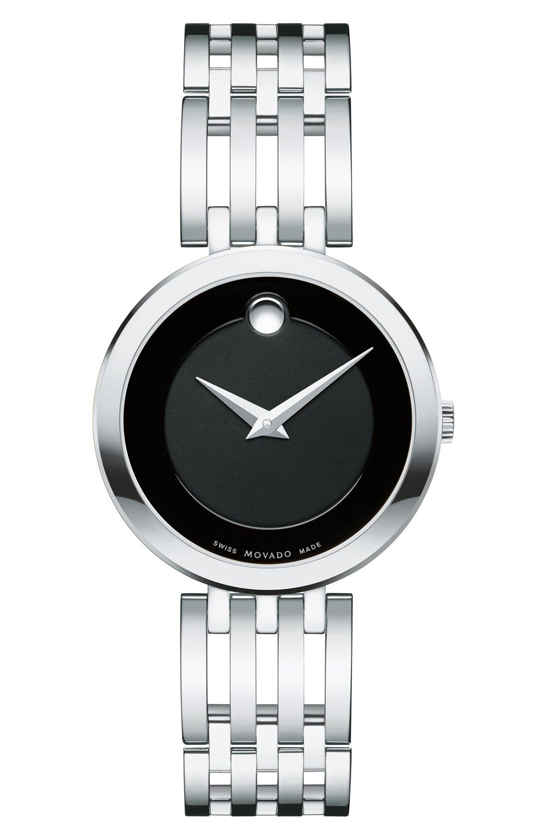 'Esperanza' Bracelet Watch, 28mm,                         Main,                         color, SILVER/ BLACK