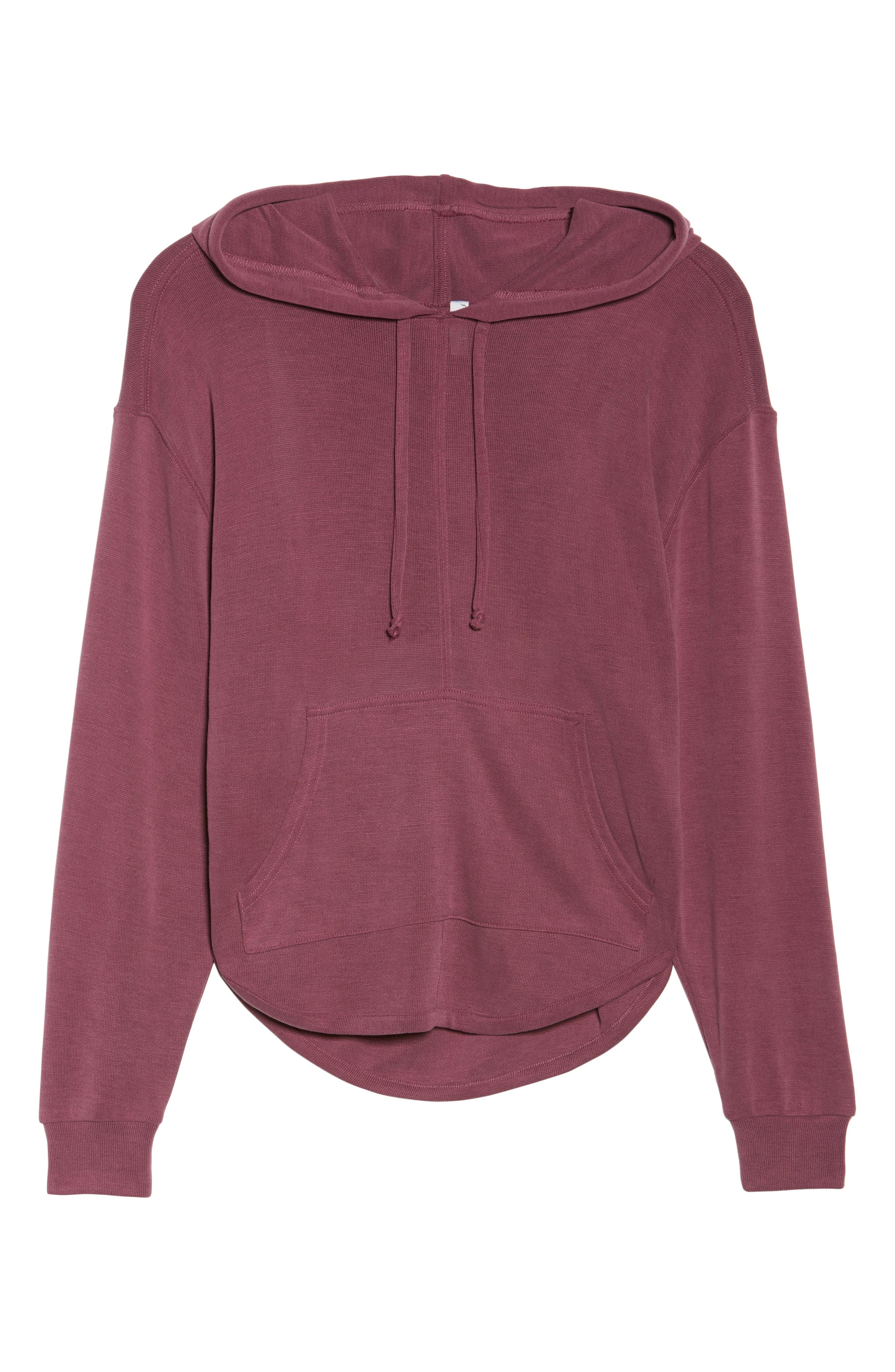 Back Into It Cutout Hoodie,                             Alternate thumbnail 7, color,                             WINE