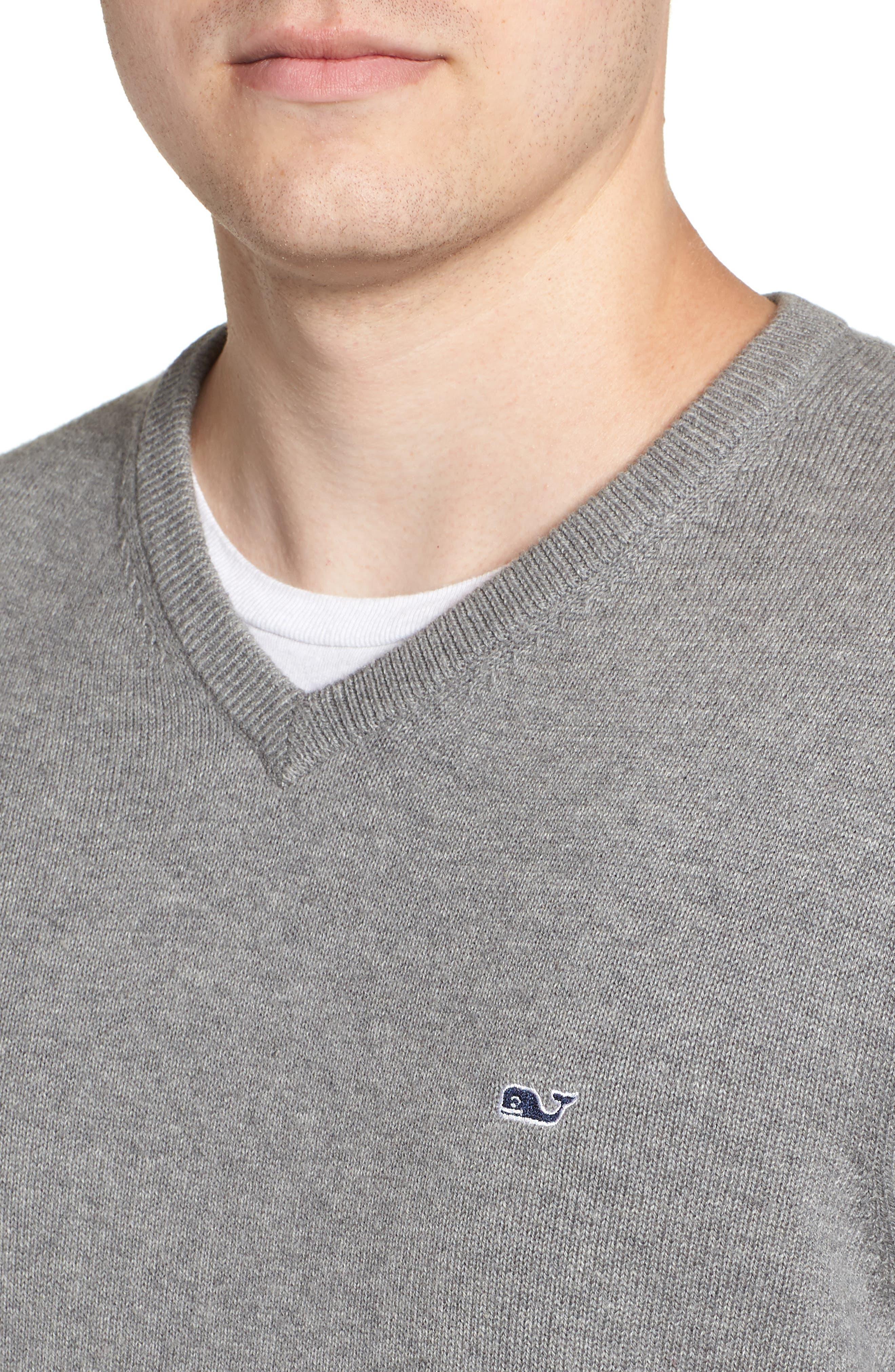 Cotton & Cashmere V-Neck Sweater,                             Alternate thumbnail 4, color,                             GRAY HEATHER