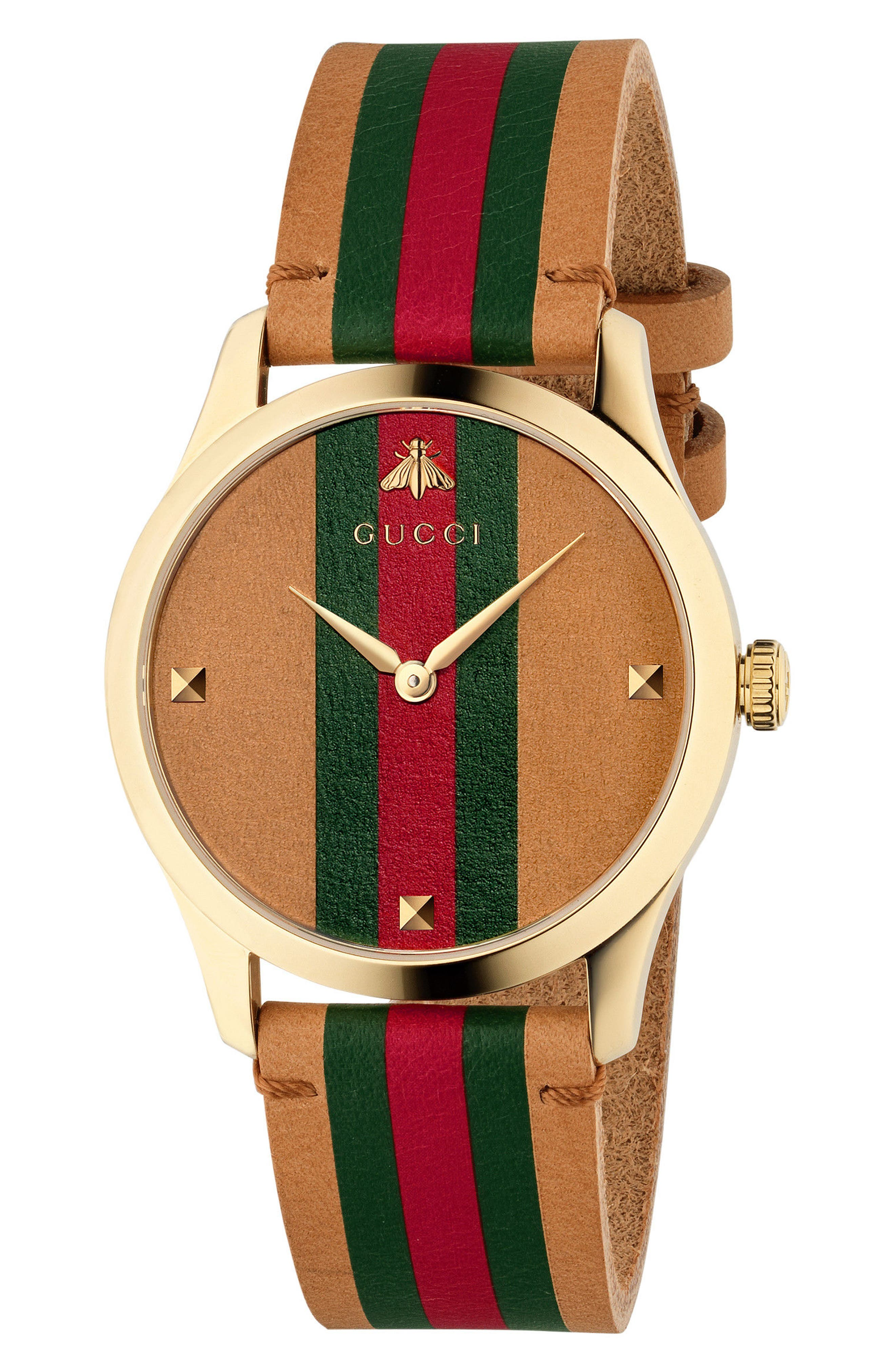 G-Timeless Leather Strap Watch, 38mm, Main, color, BROWN/ GREEN/ GOLD