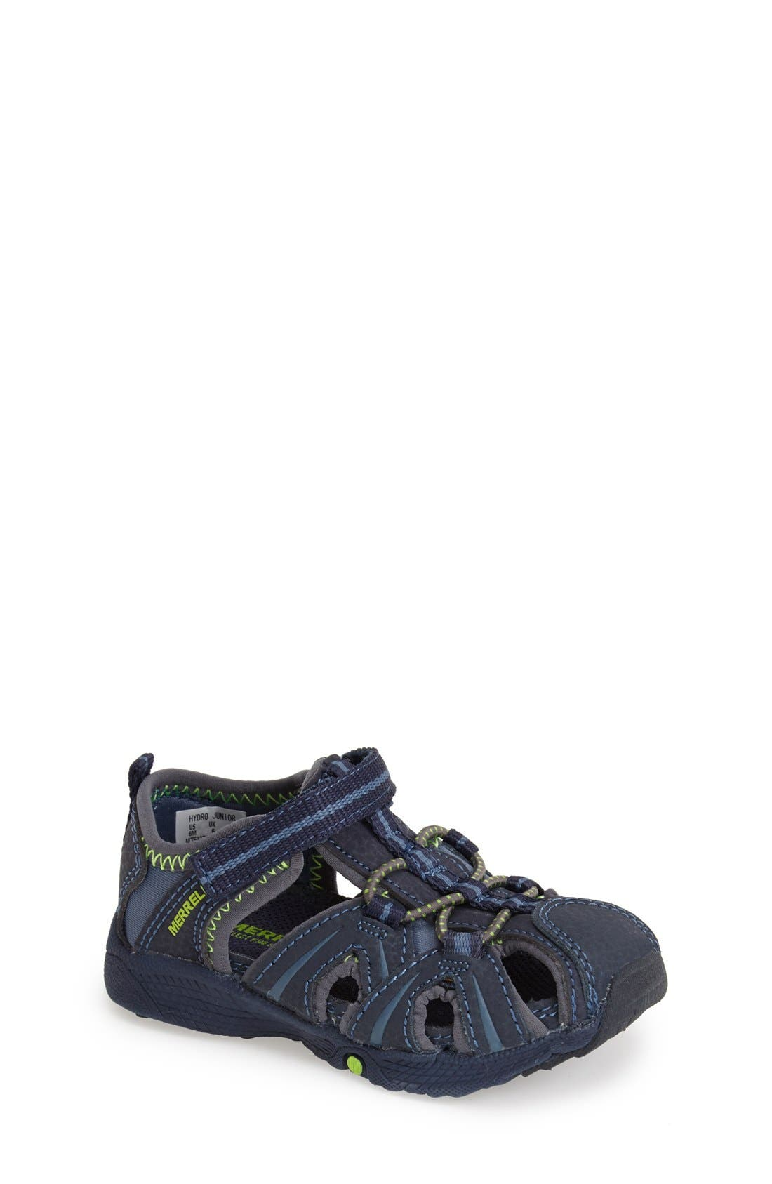 MERRELL,                             'Hydro Junior' M-Select Water Sandal,                             Main thumbnail 1, color,                             NAVY/ GREEN