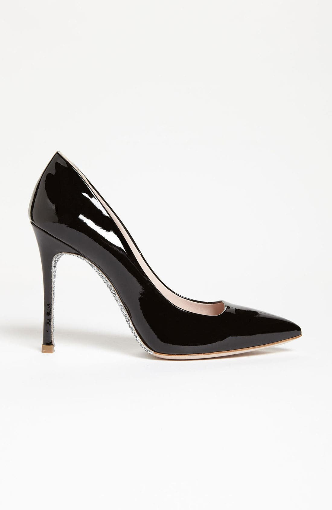 Glitter Sole Pointy Toe Pump,                             Alternate thumbnail 3, color,                             001