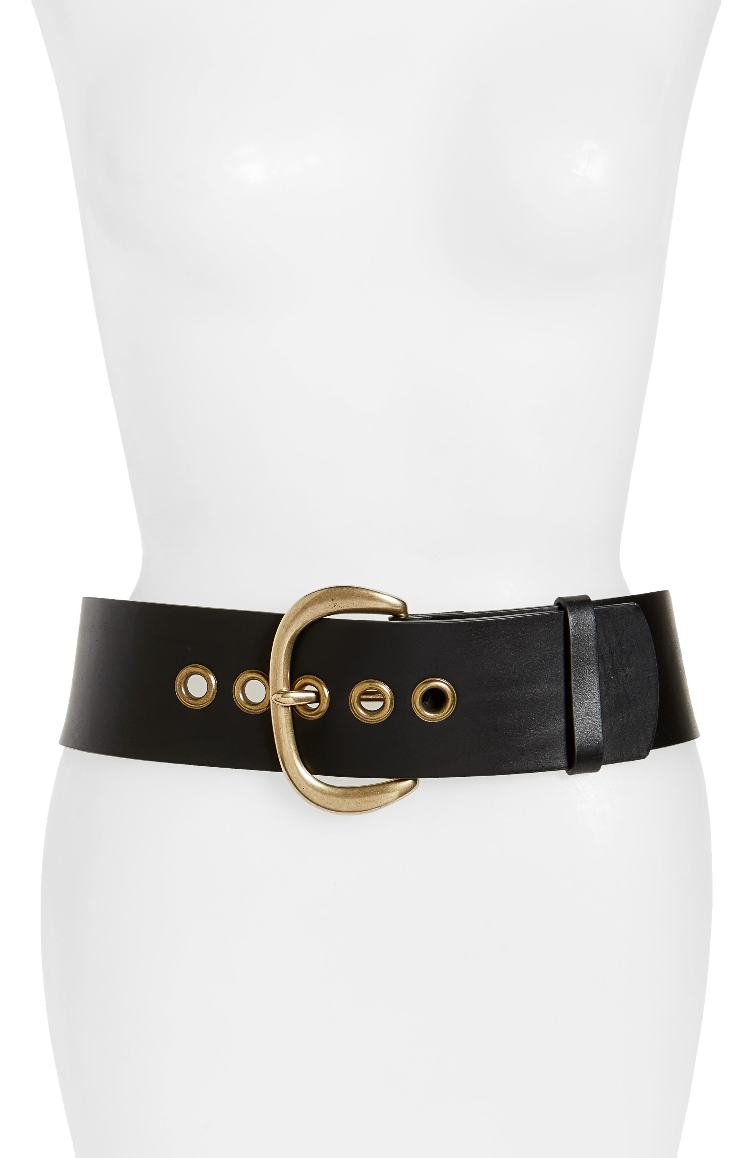 Wide Leather Belt, Main, color, 001