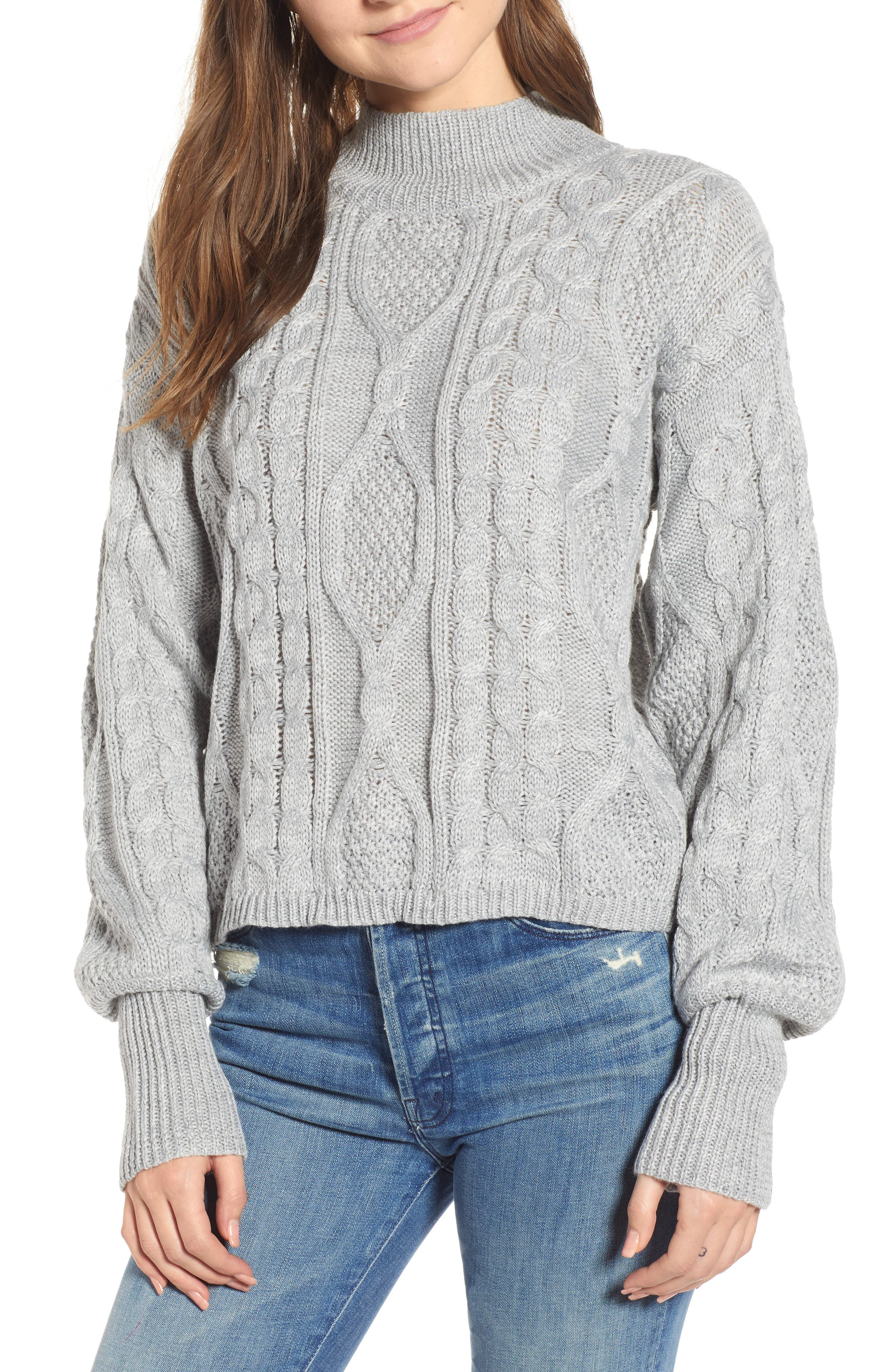 Dusk Till Dawn Cable Sweater, Main, color, GREY