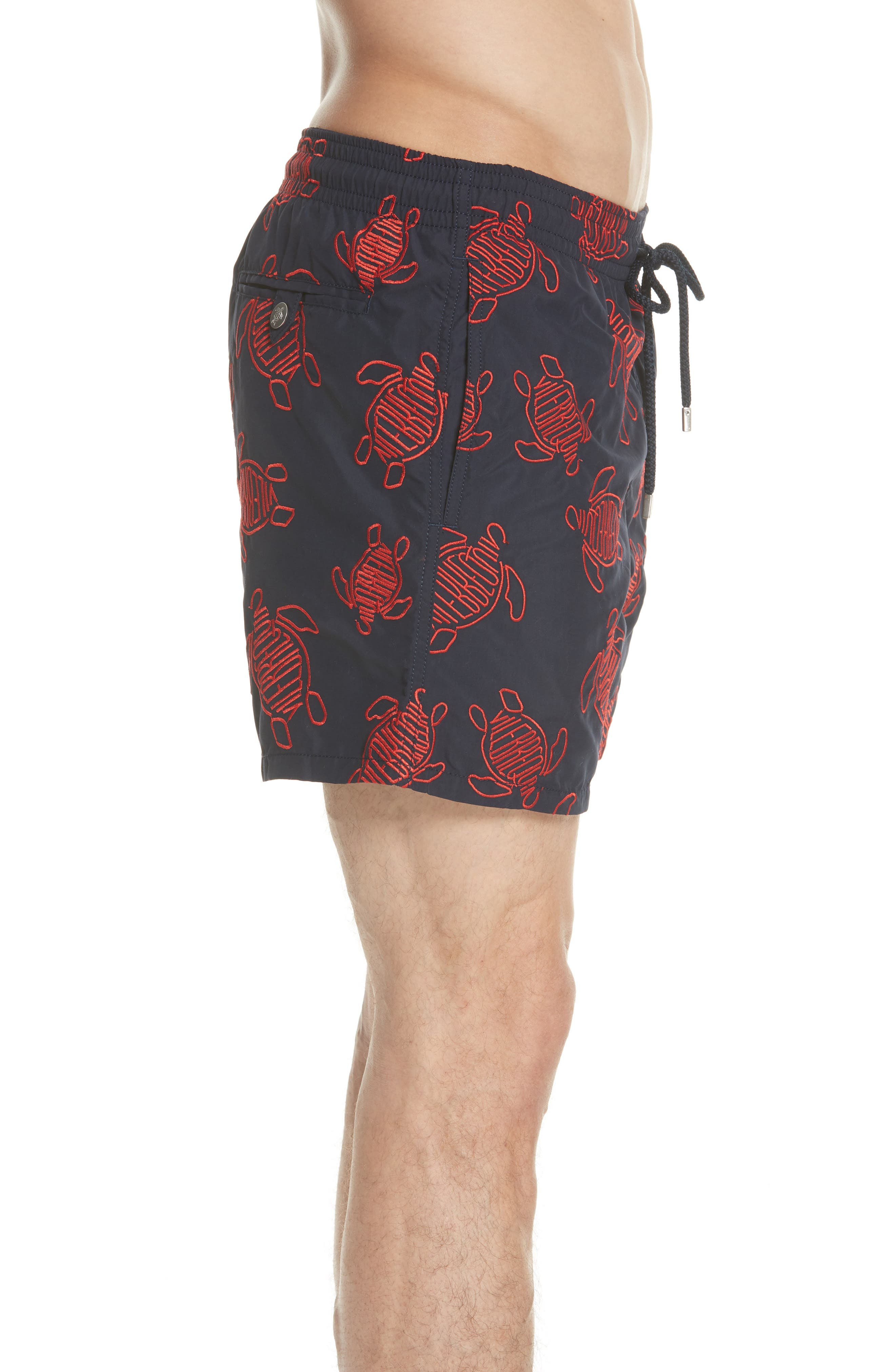 Embroidered Turtle Swim Trunks,                             Alternate thumbnail 3, color,                             NAVY