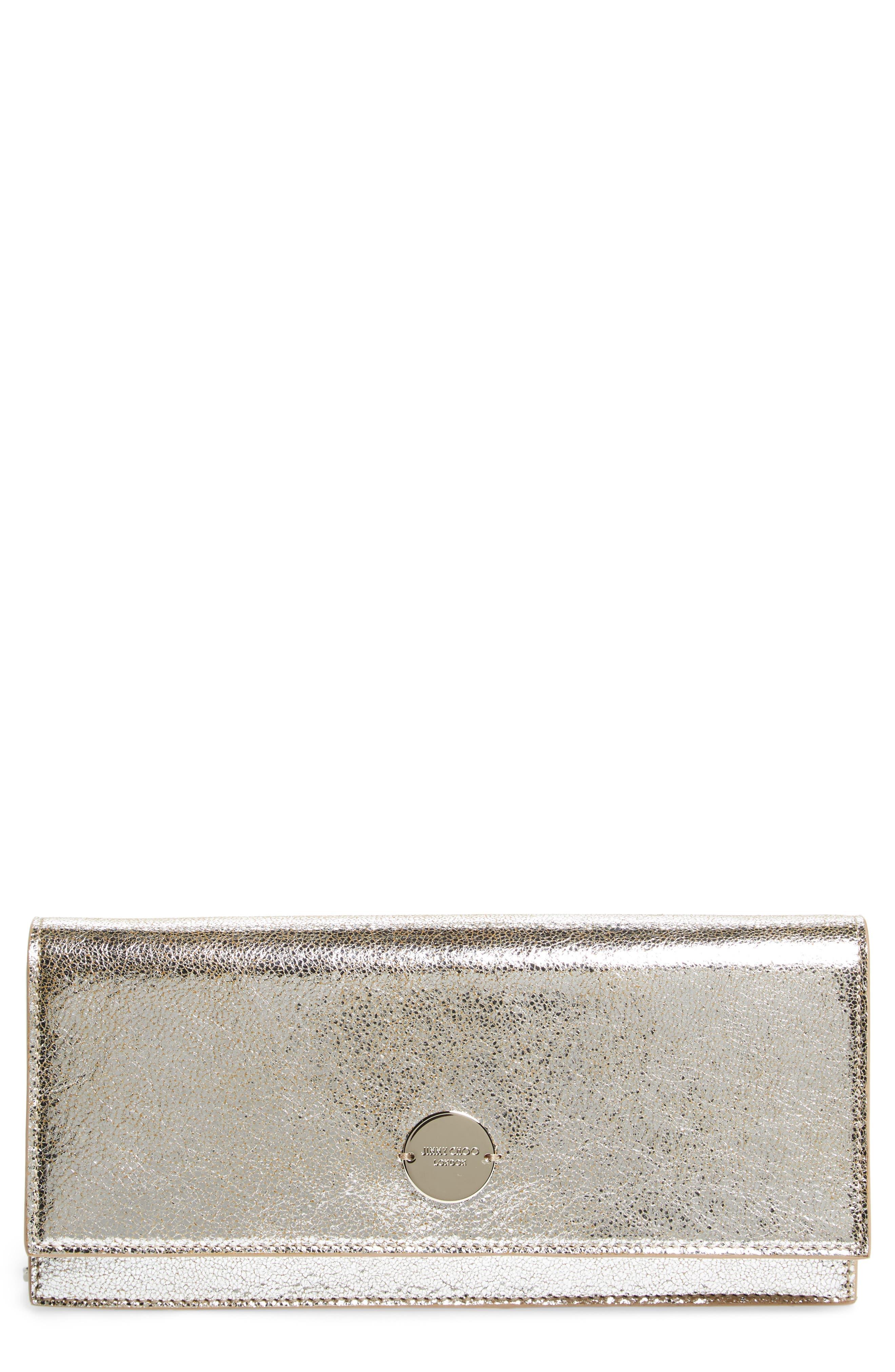 Fie Metallic Leather Clutch,                             Main thumbnail 1, color,                             040