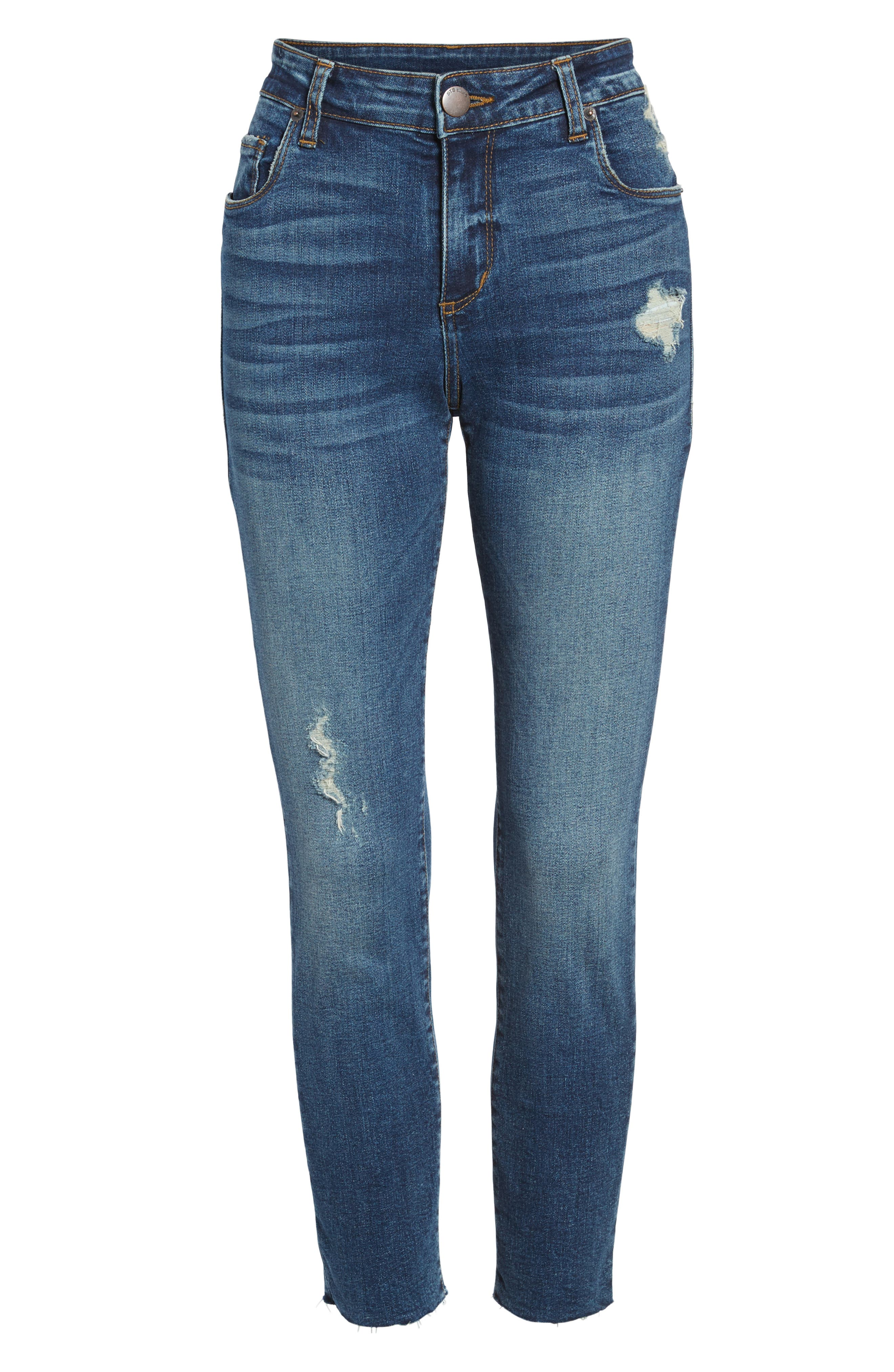 Distressed Ankle Straight Leg Jeans,                             Alternate thumbnail 6, color,                             400