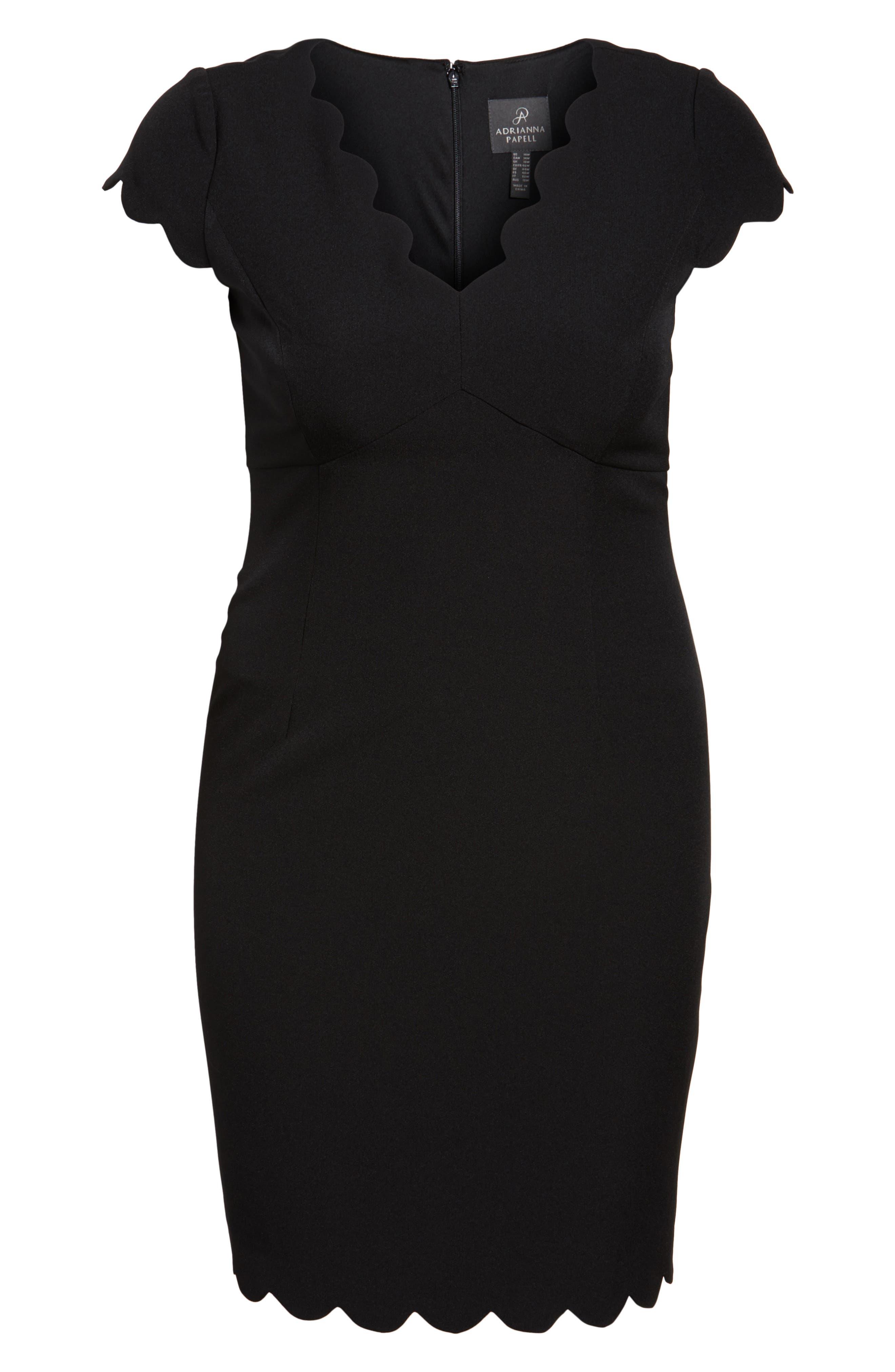 Scalloped Crepe Sheath Dress,                             Alternate thumbnail 6, color,                             001