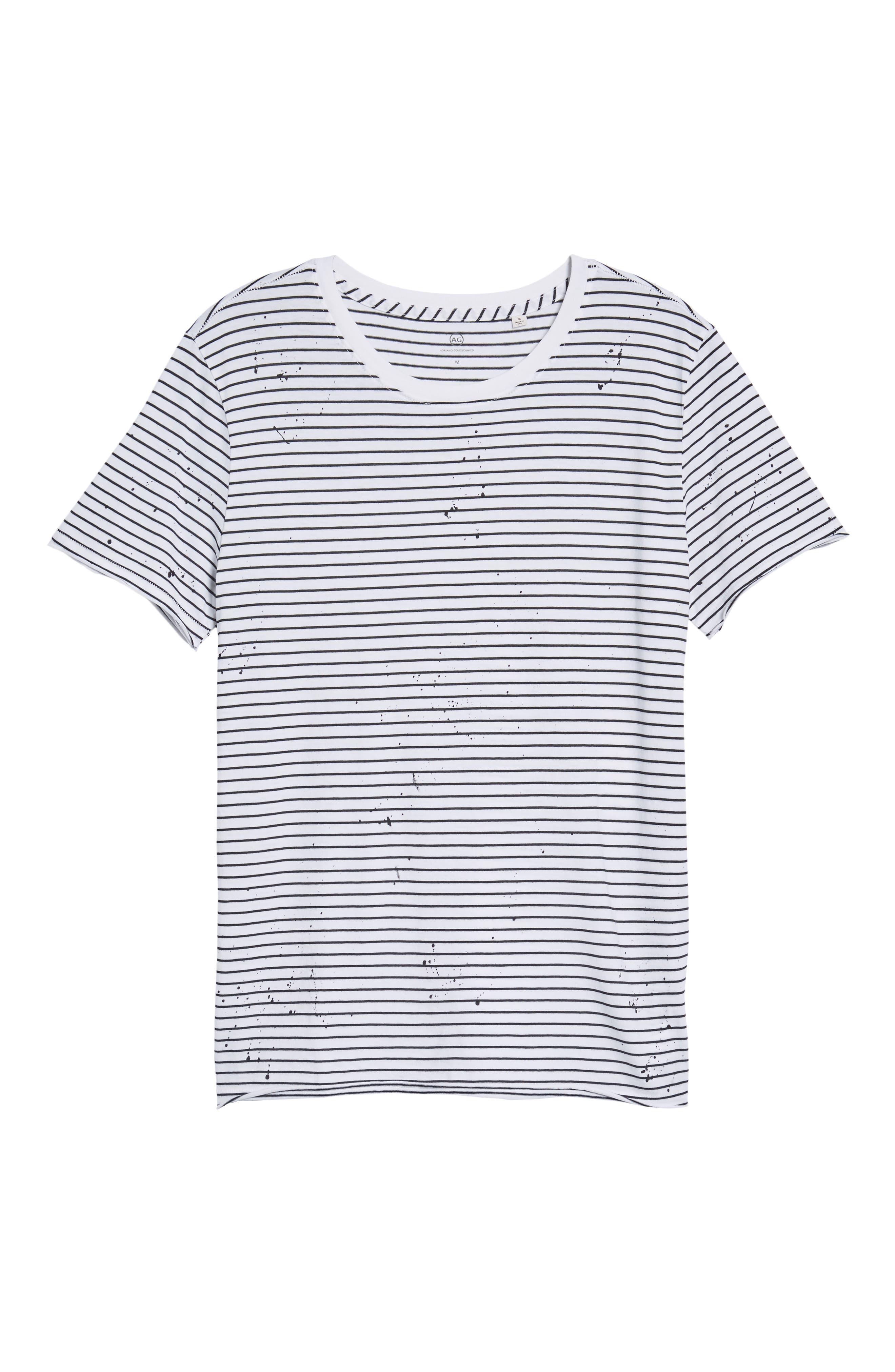 Julian Slim Fit Stripe Raw T-Shirt,                             Alternate thumbnail 6, color,                             100