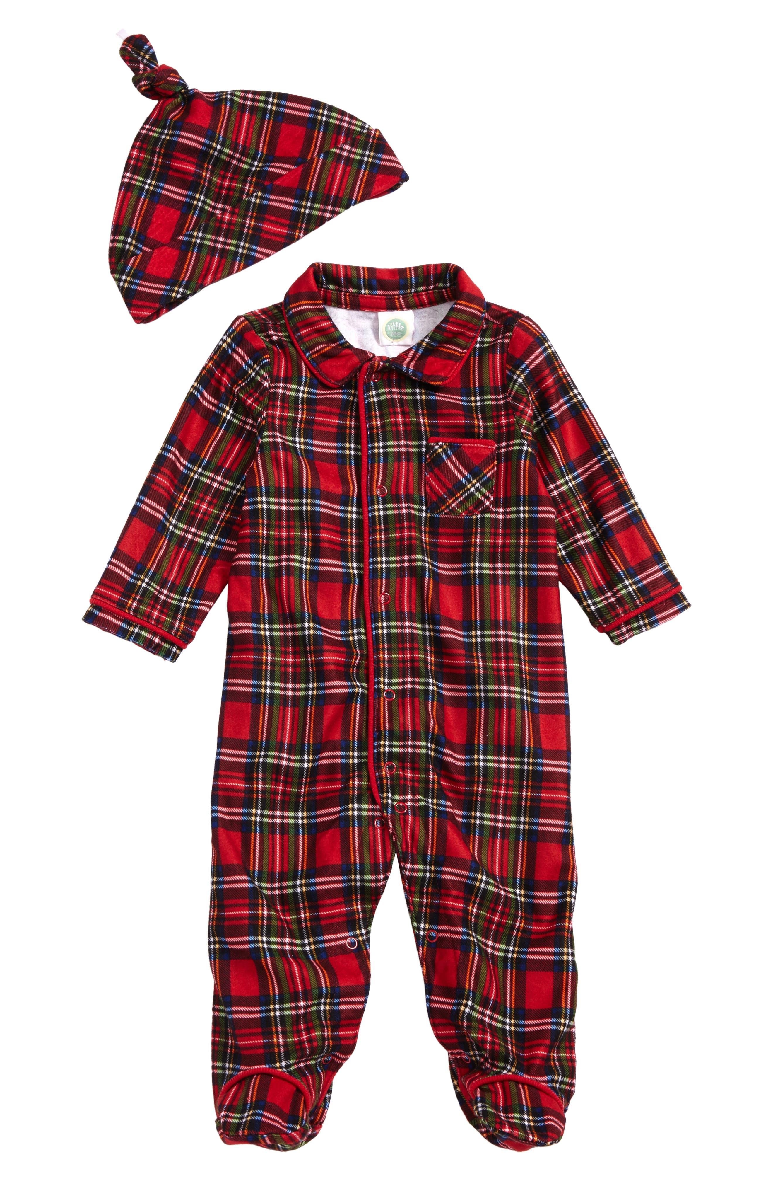 Plaid Footie Pajamas & Hat Set,                             Main thumbnail 1, color,