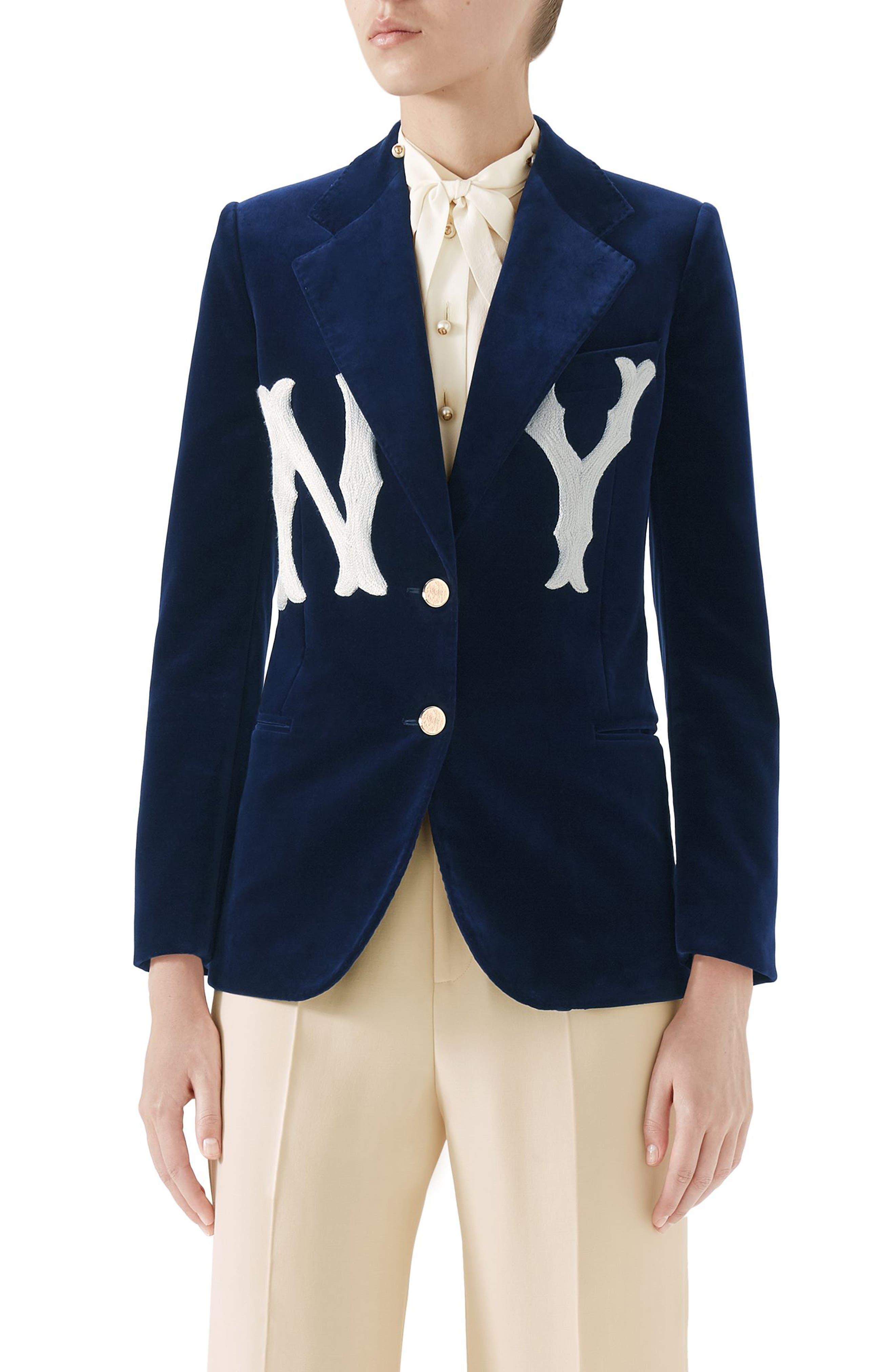 NY Patch Velvet Jacket,                             Main thumbnail 1, color,                             BLUE