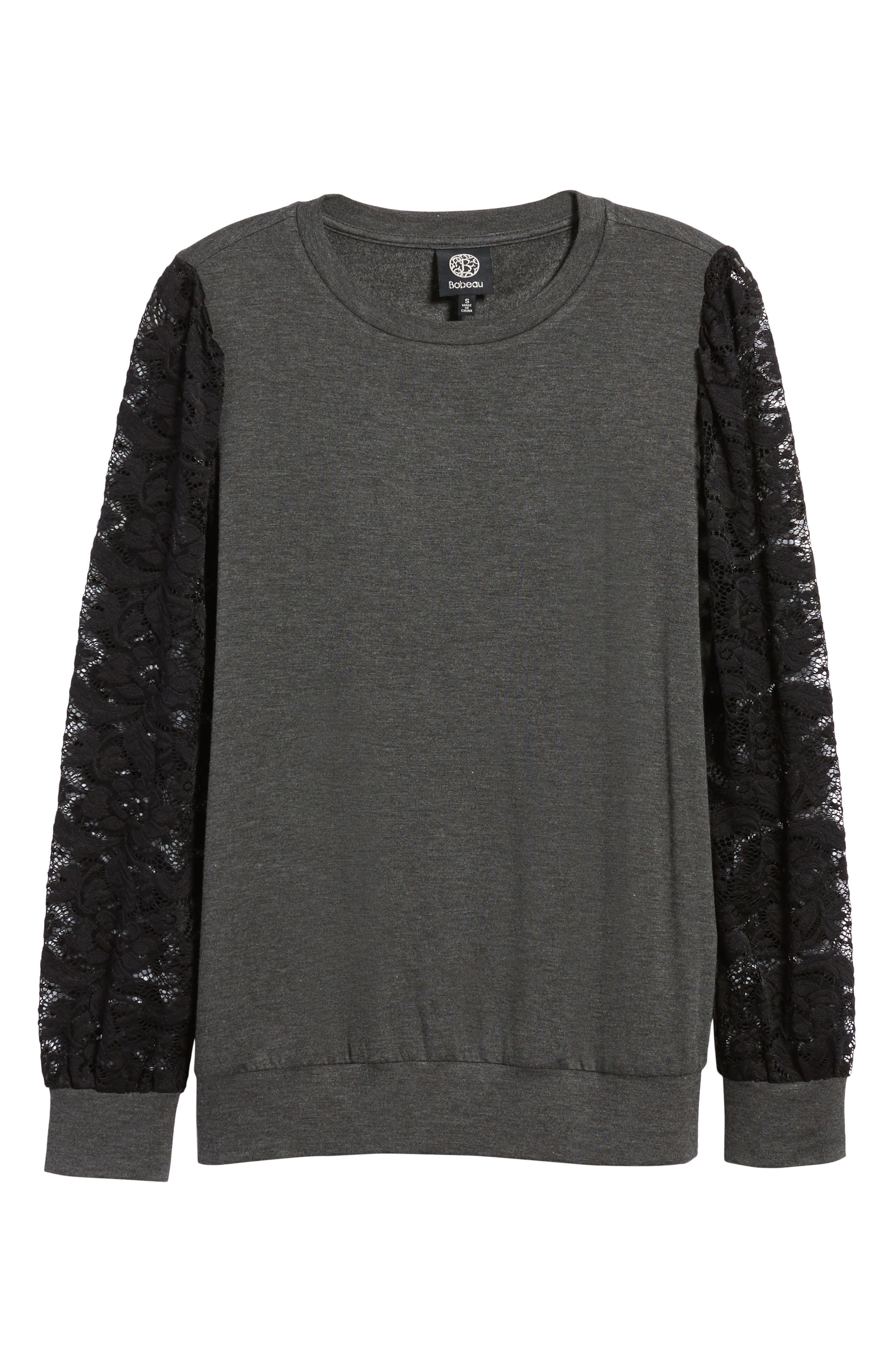 Lace Sleeve Sweatshirt,                             Alternate thumbnail 22, color,