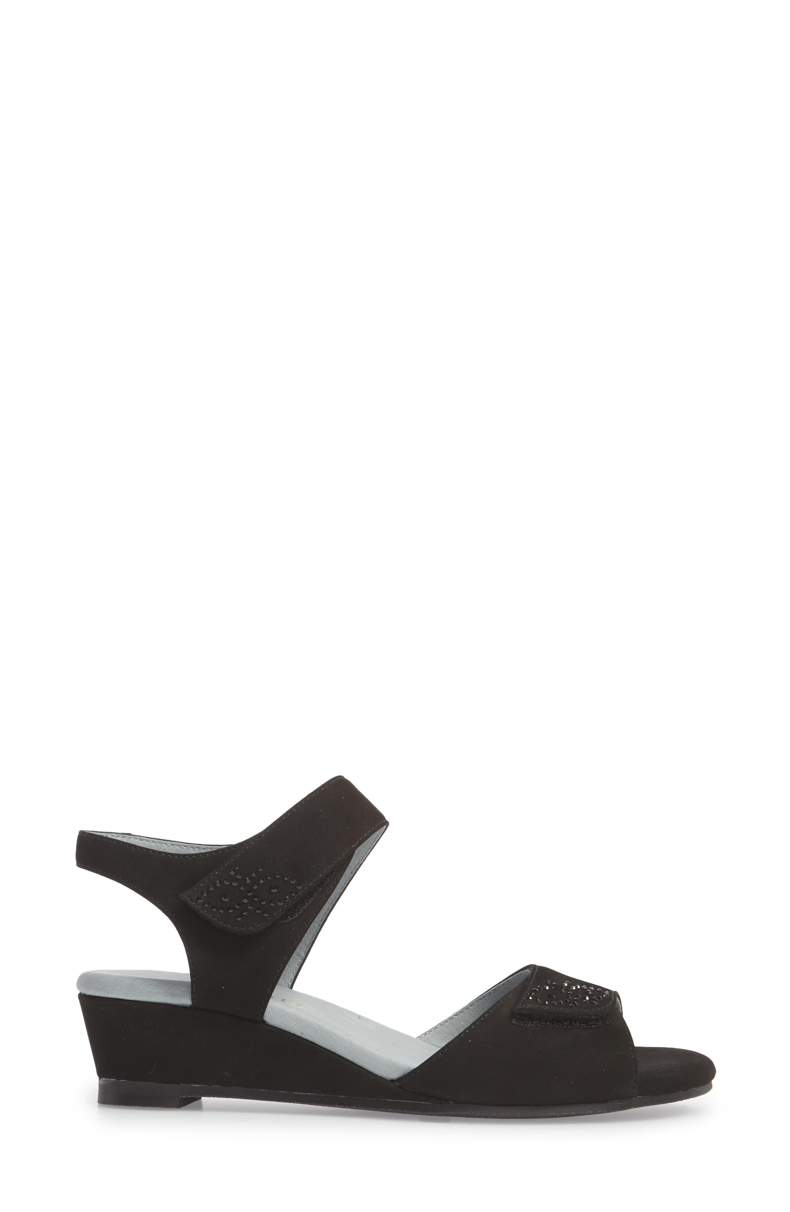 Queen Embellished Wedge Sandal,                             Alternate thumbnail 3, color,                             BLACK NUBUCK