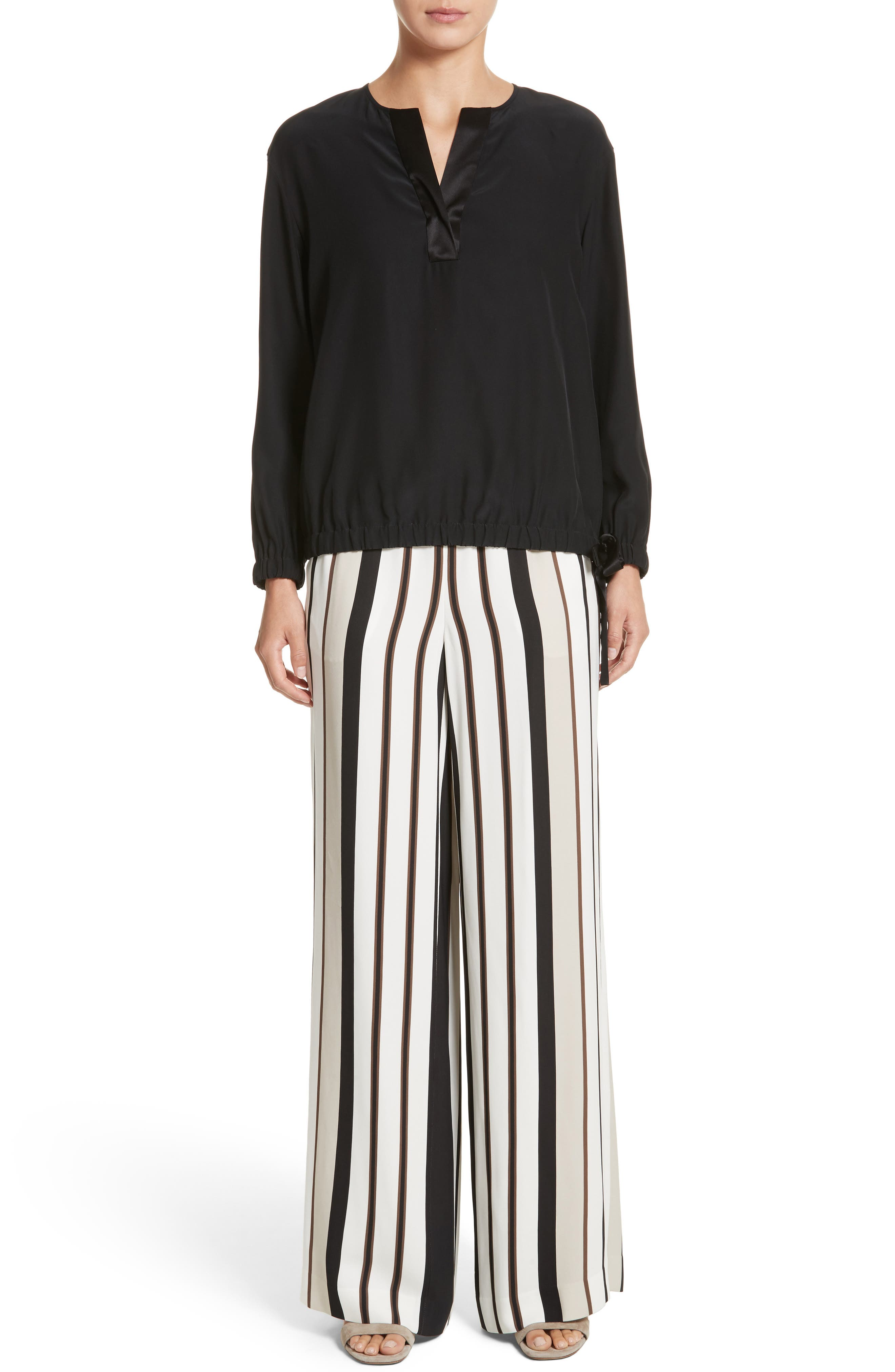 LAFAYETTE 148 NEW YORK,                             Allen Legacy Stripe Drape Cloth Pants,                             Alternate thumbnail 7, color,                             001