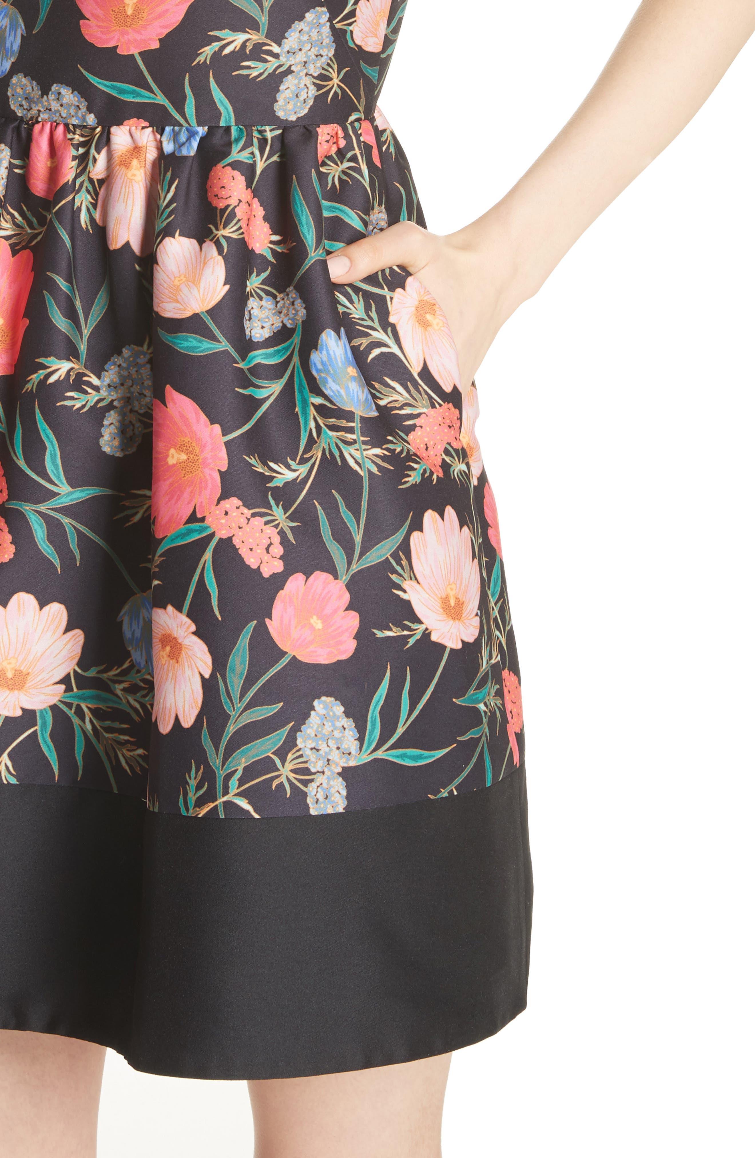 blossom mikado minidress,                             Alternate thumbnail 4, color,                             001