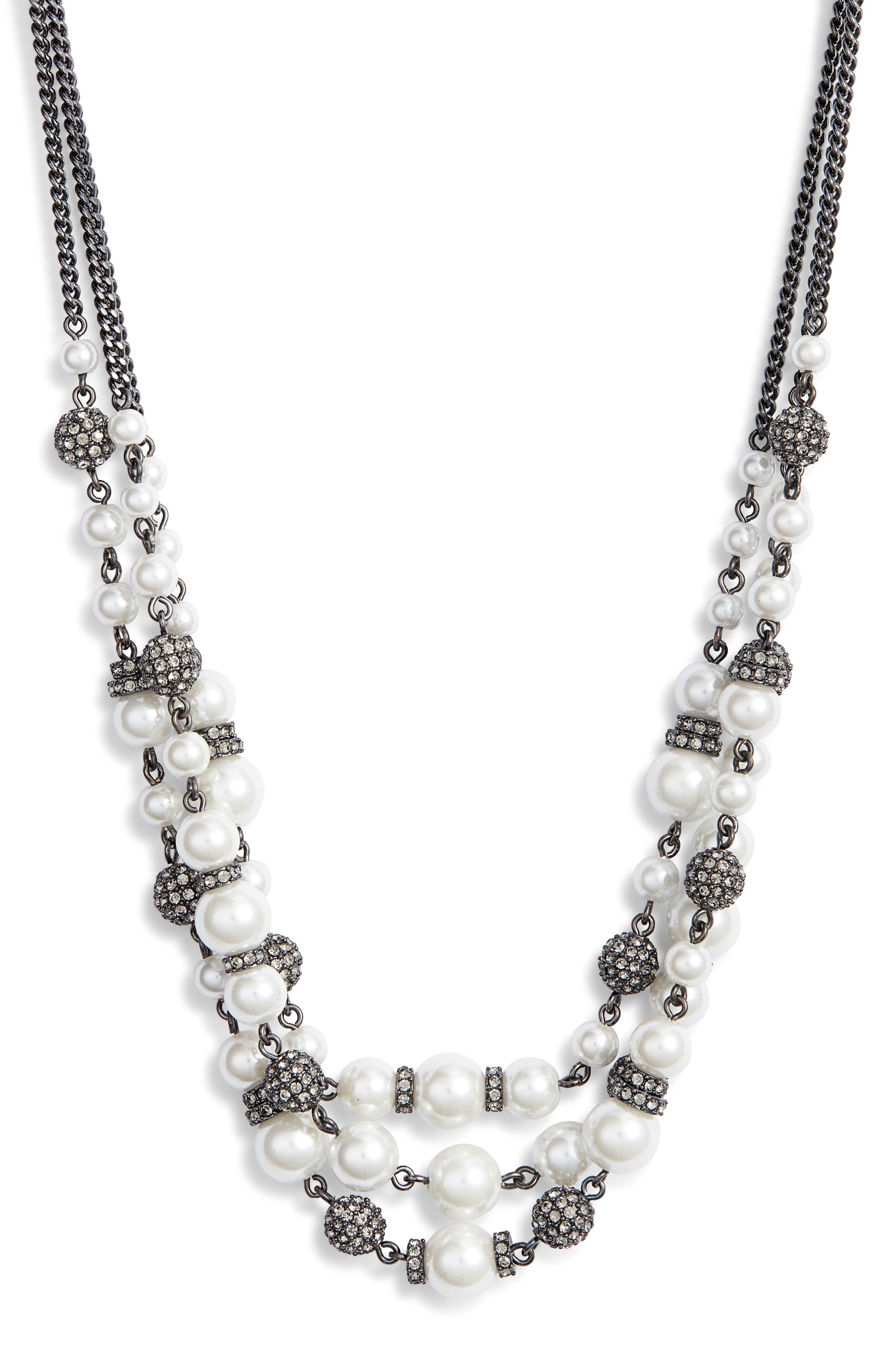 Bead & Crystal Collar Necklace,                             Main thumbnail 1, color,                             WHITE/ HEMATITE