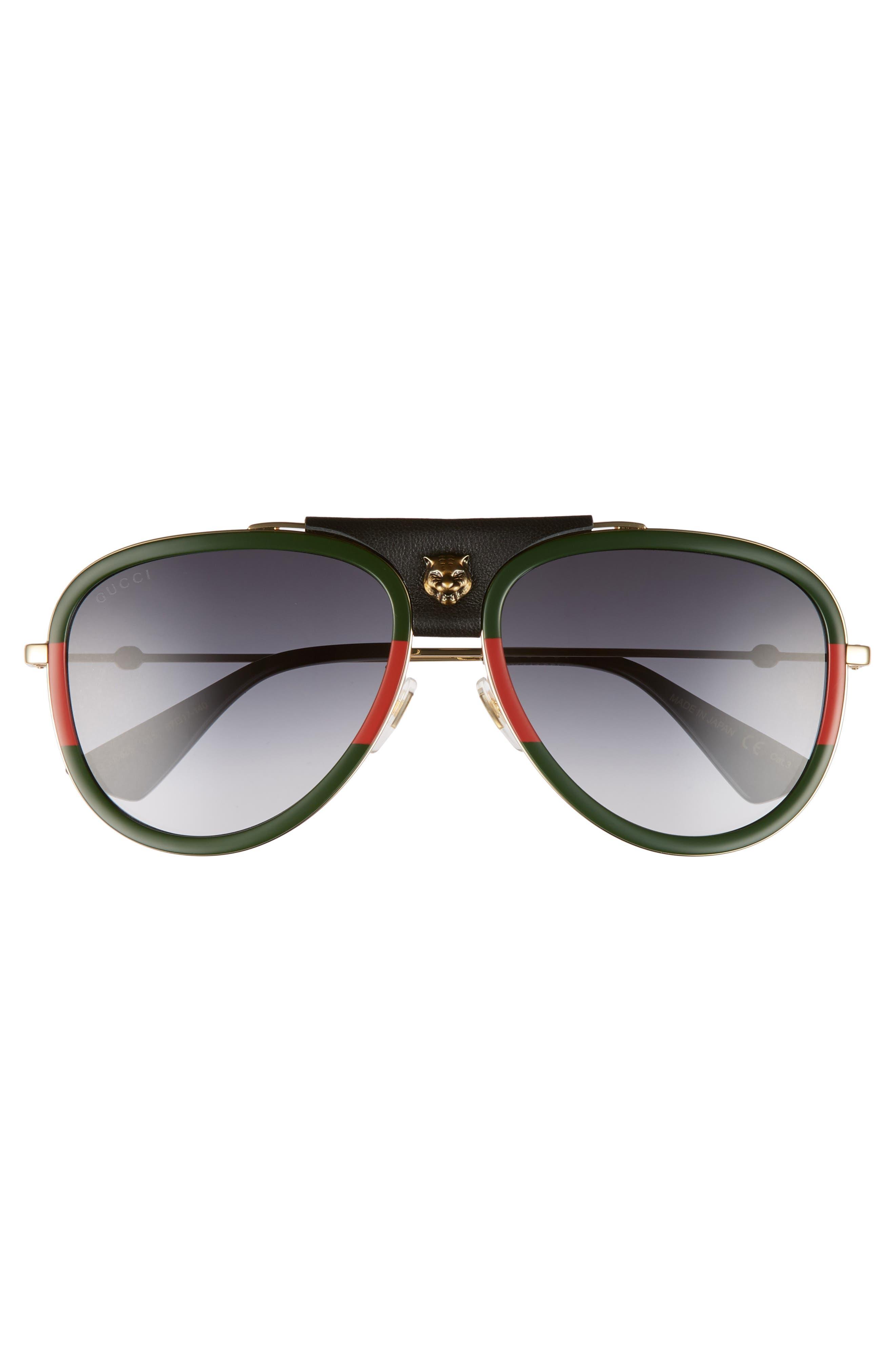 Web Block 57mm Leather Aviator Sunglasses,                             Alternate thumbnail 4, color,