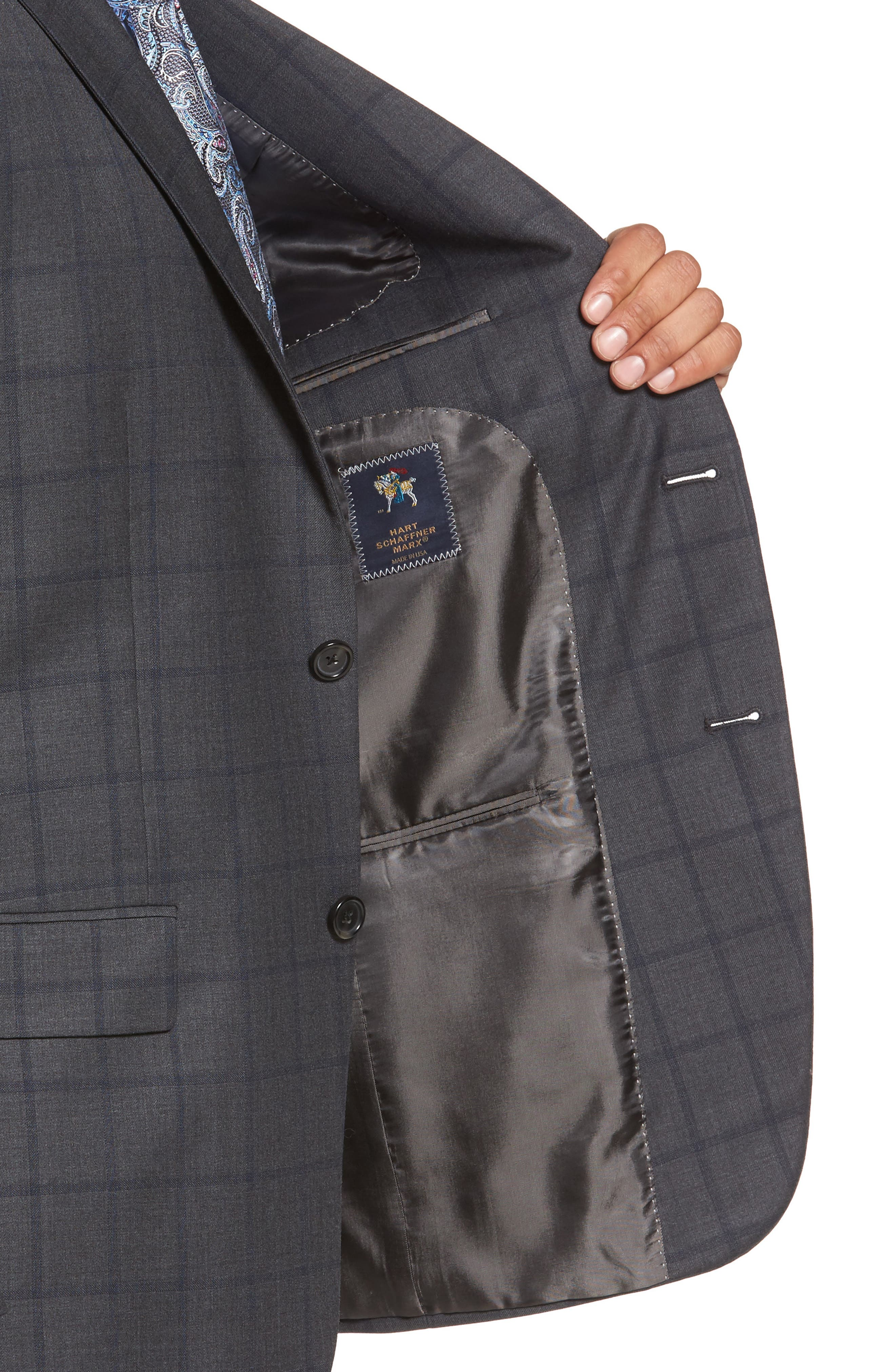 Classic Fit Windowpane Wool Suit,                             Alternate thumbnail 4, color,                             344
