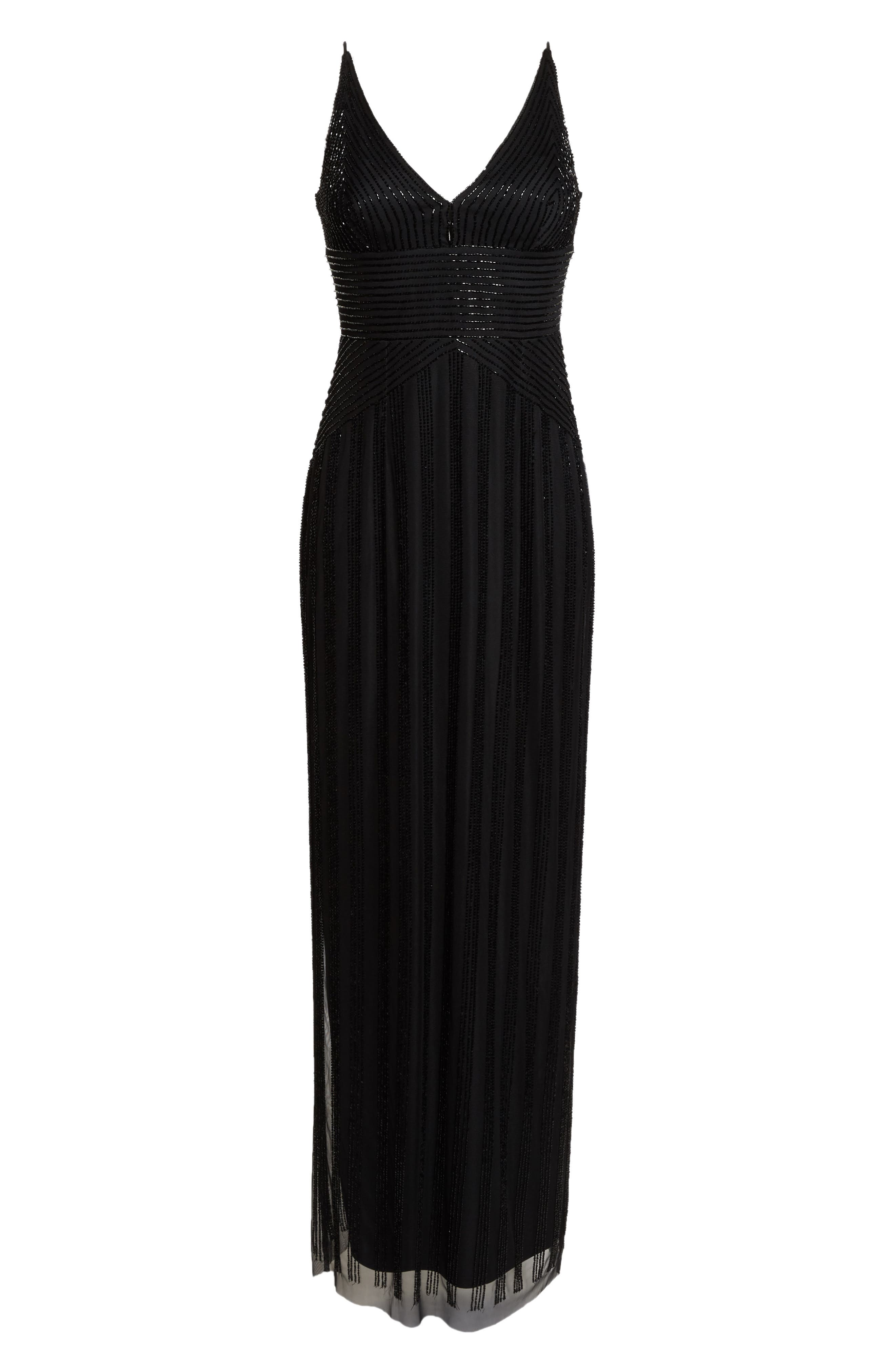 V-Neck Beaded Stripe Gown,                             Alternate thumbnail 7, color,                             BLACK