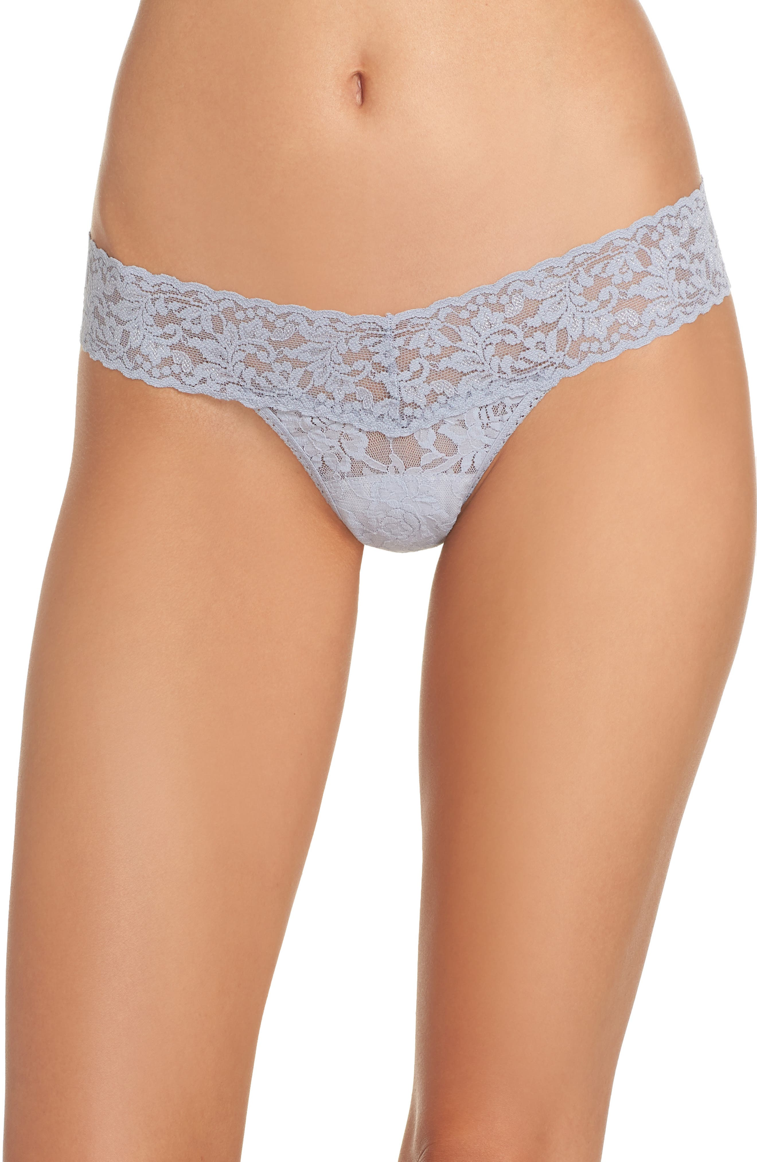 Signature Lace Low Rise Thong,                         Main,                         color, SHINING ARMOUR