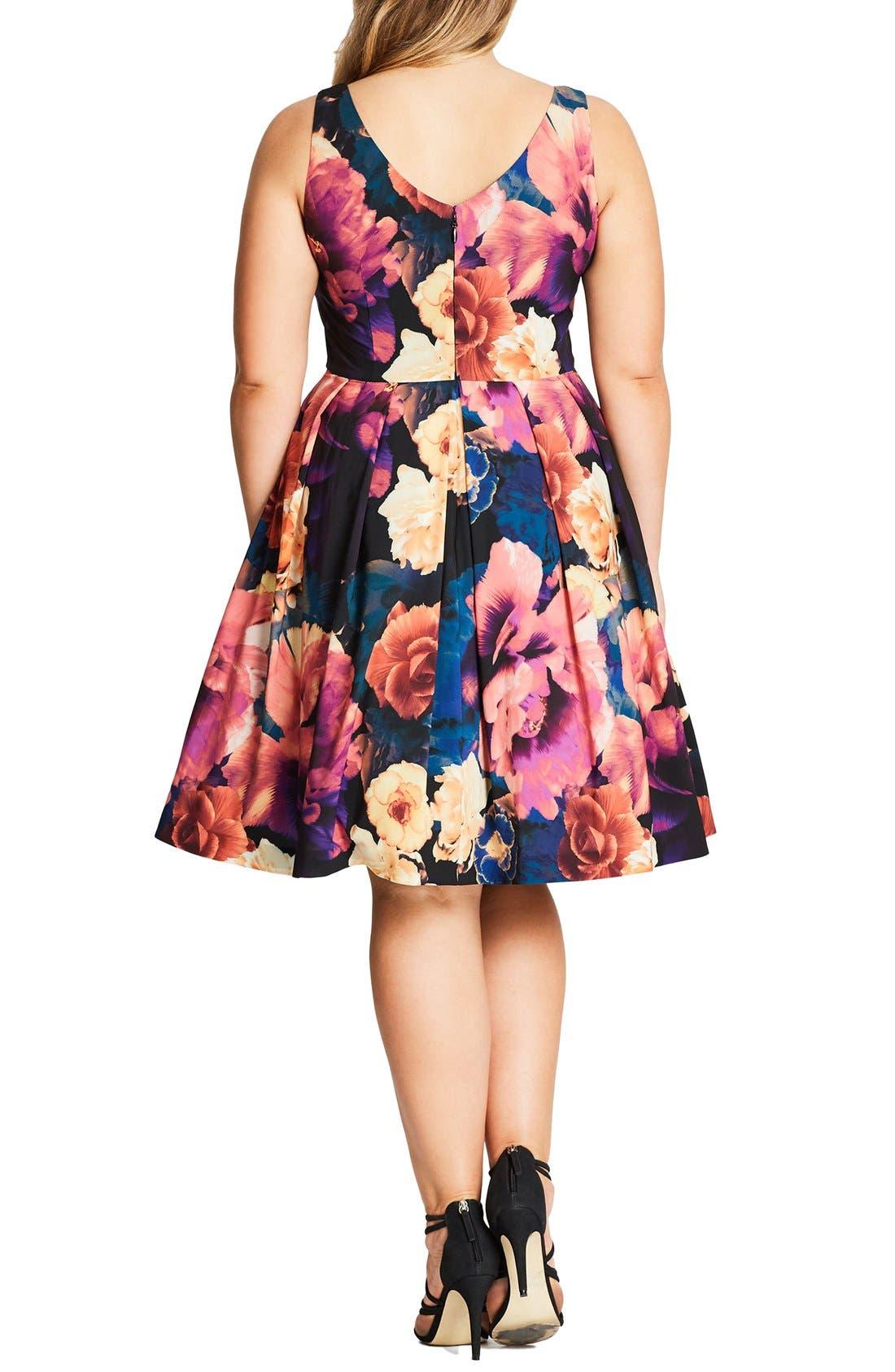 Secret Garden Print Fit & Flare Dress,                             Alternate thumbnail 4, color,                             001