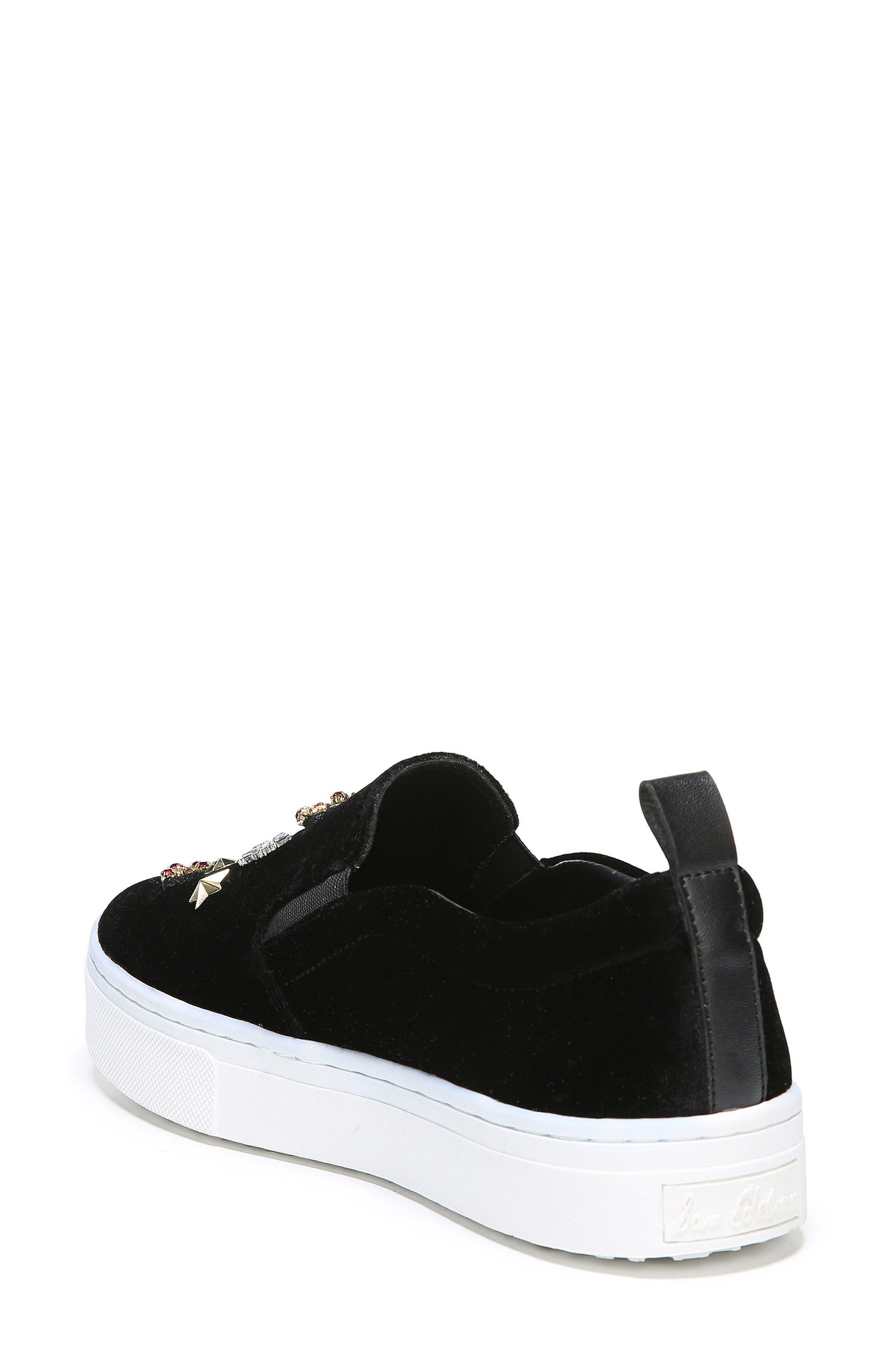 Leila Embellished Platform Sneaker,                             Alternate thumbnail 3, color,                             001