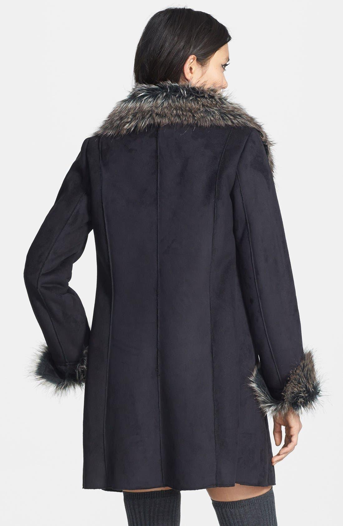 Faux Fur Trim Faux Suede Jacket,                             Alternate thumbnail 2, color,