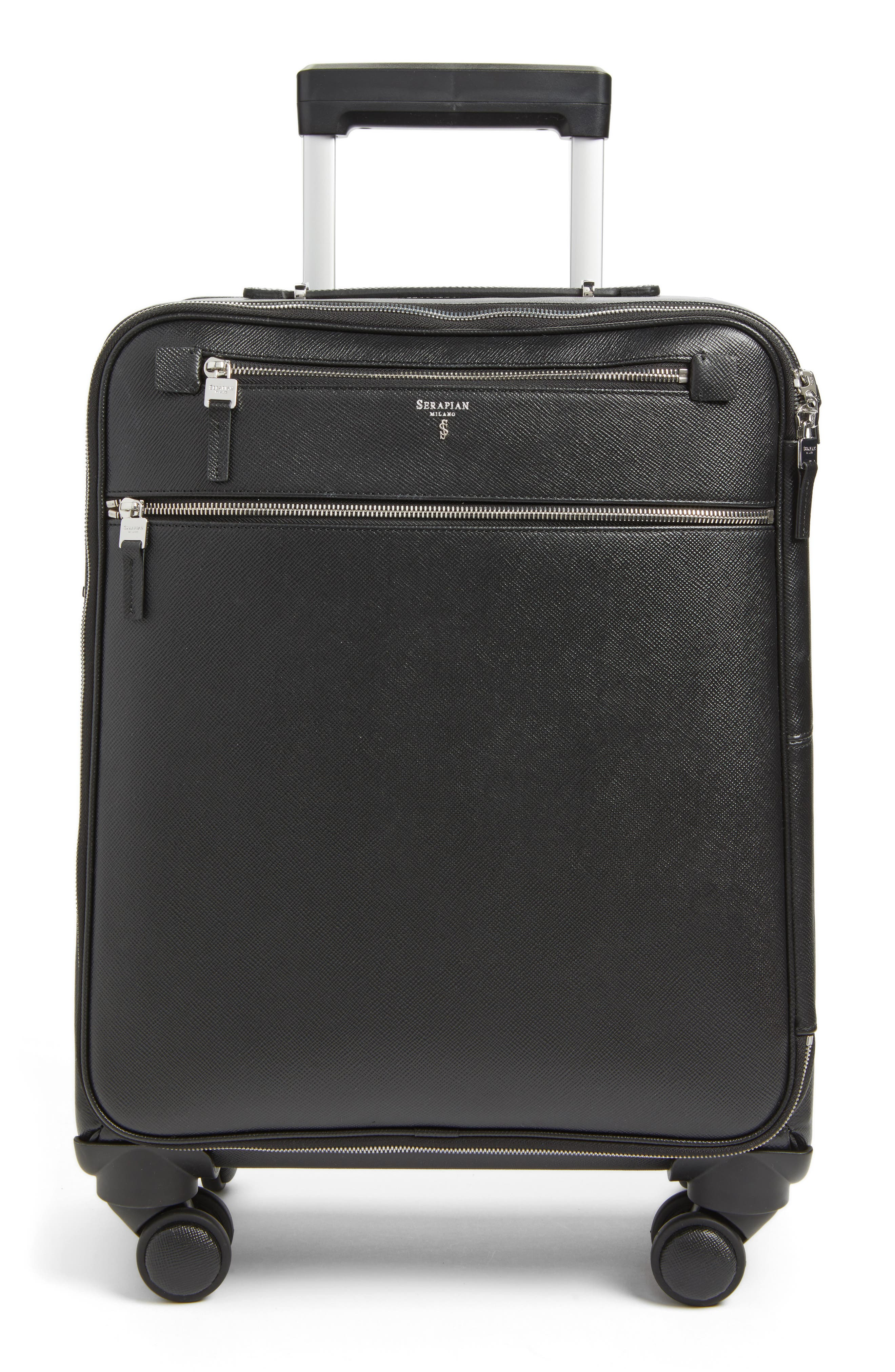 Trolley 18-Inch Spinner Wheeled Carry-On Suitcase,                             Main thumbnail 1, color,                             BLACK