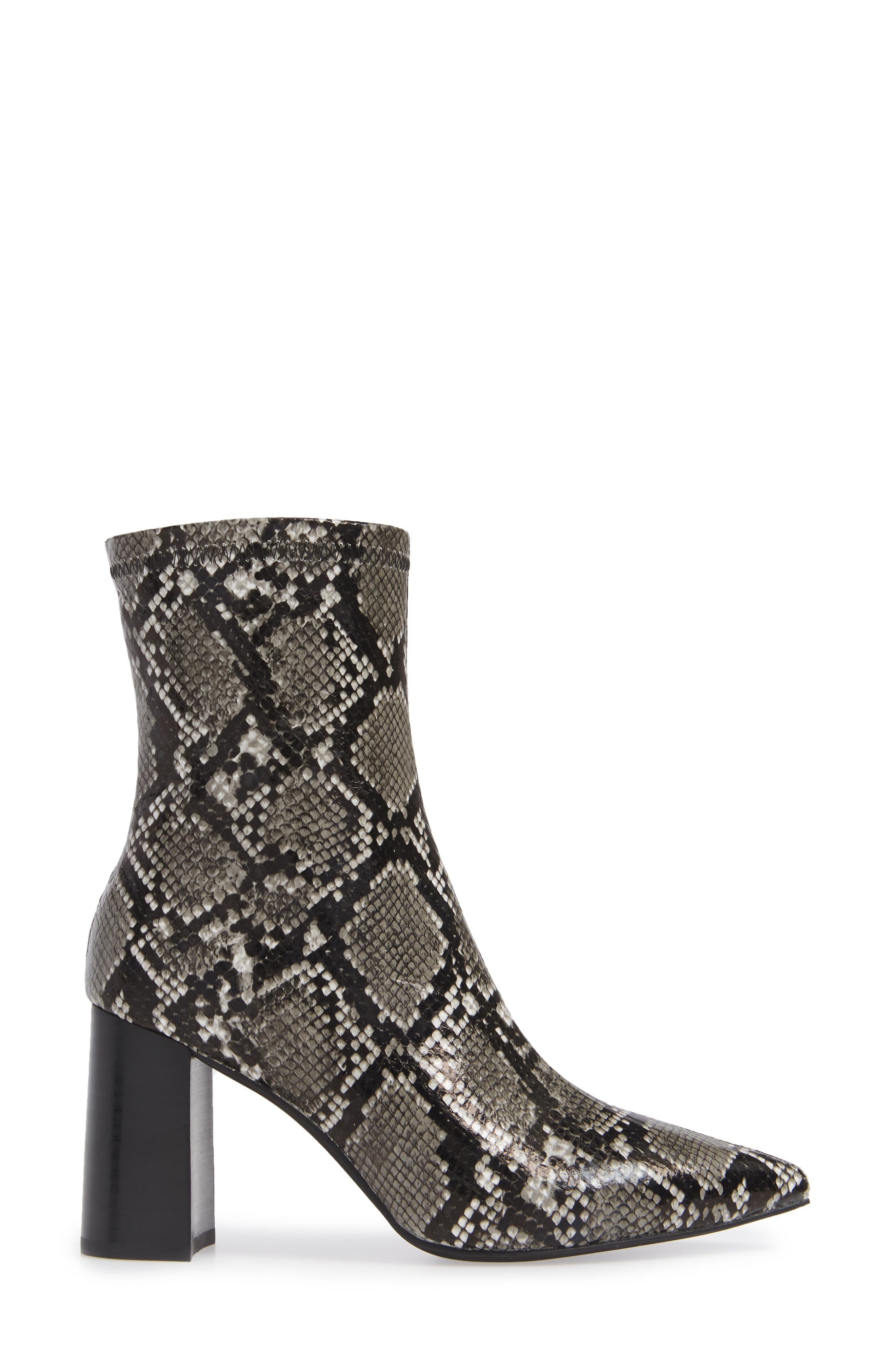 Coma 3 Block Heel Bootie,                             Alternate thumbnail 3, color,                             GREY/ BLACK SNAKE PRINT
