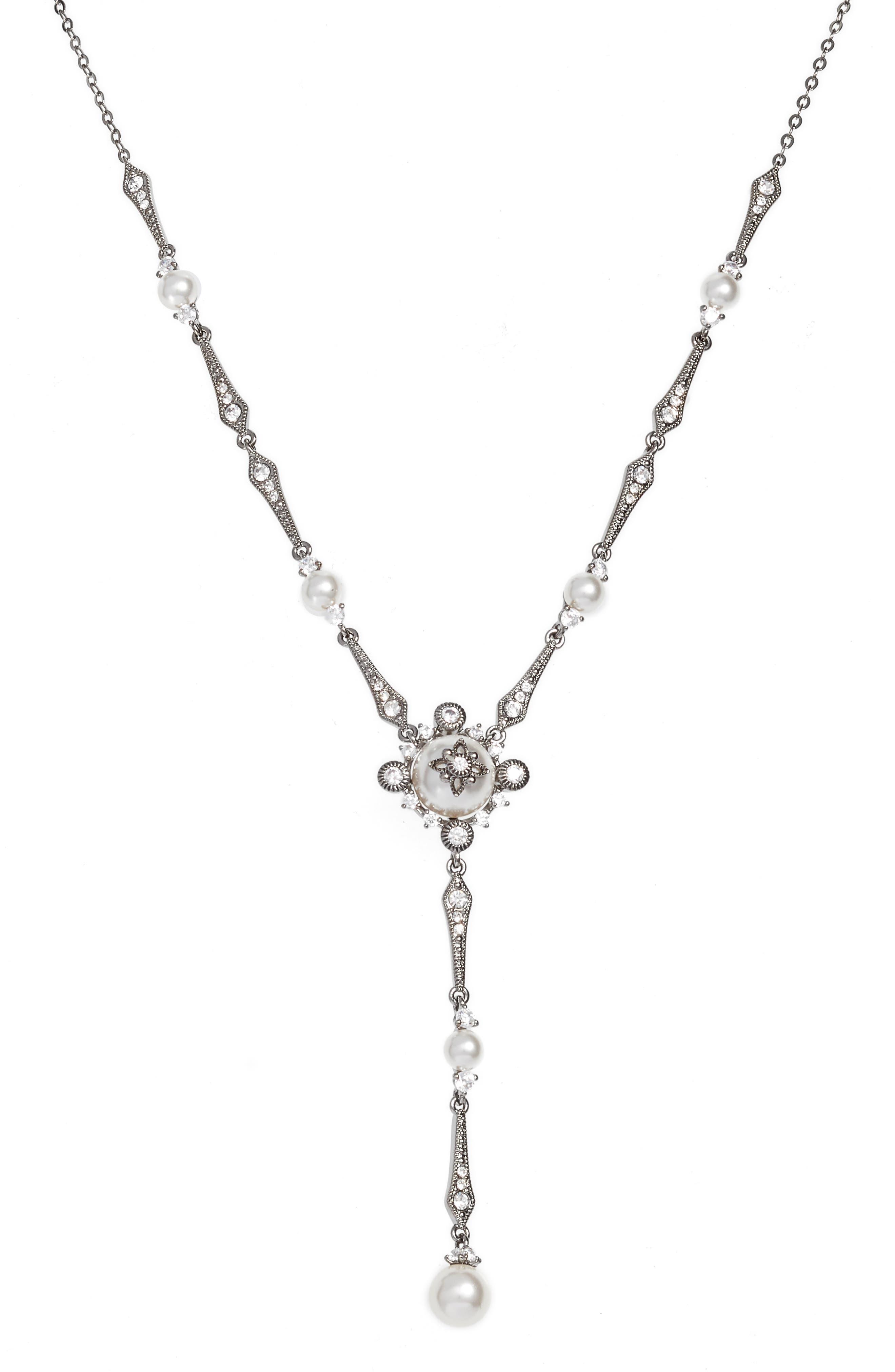 Crystal Y-Necklace,                             Main thumbnail 1, color,                             BLACK