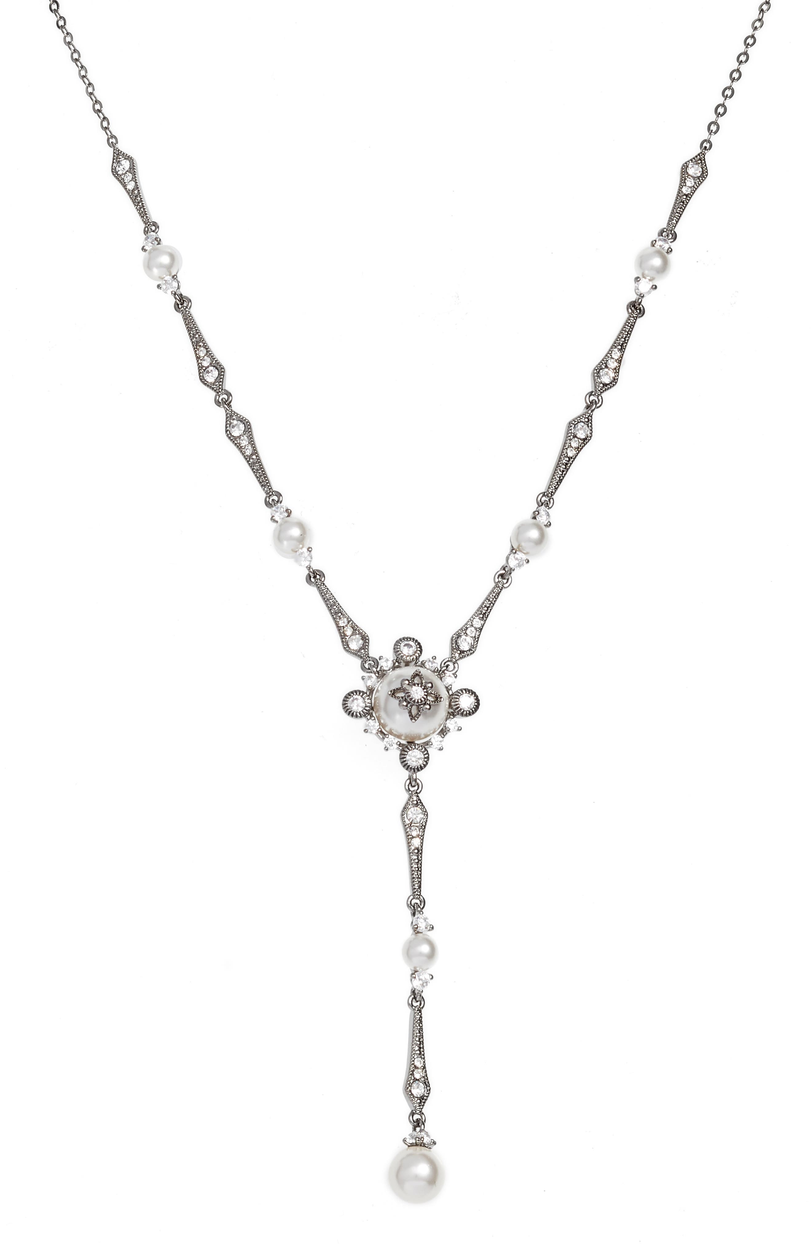 Crystal Y-Necklace,                         Main,                         color, BLACK