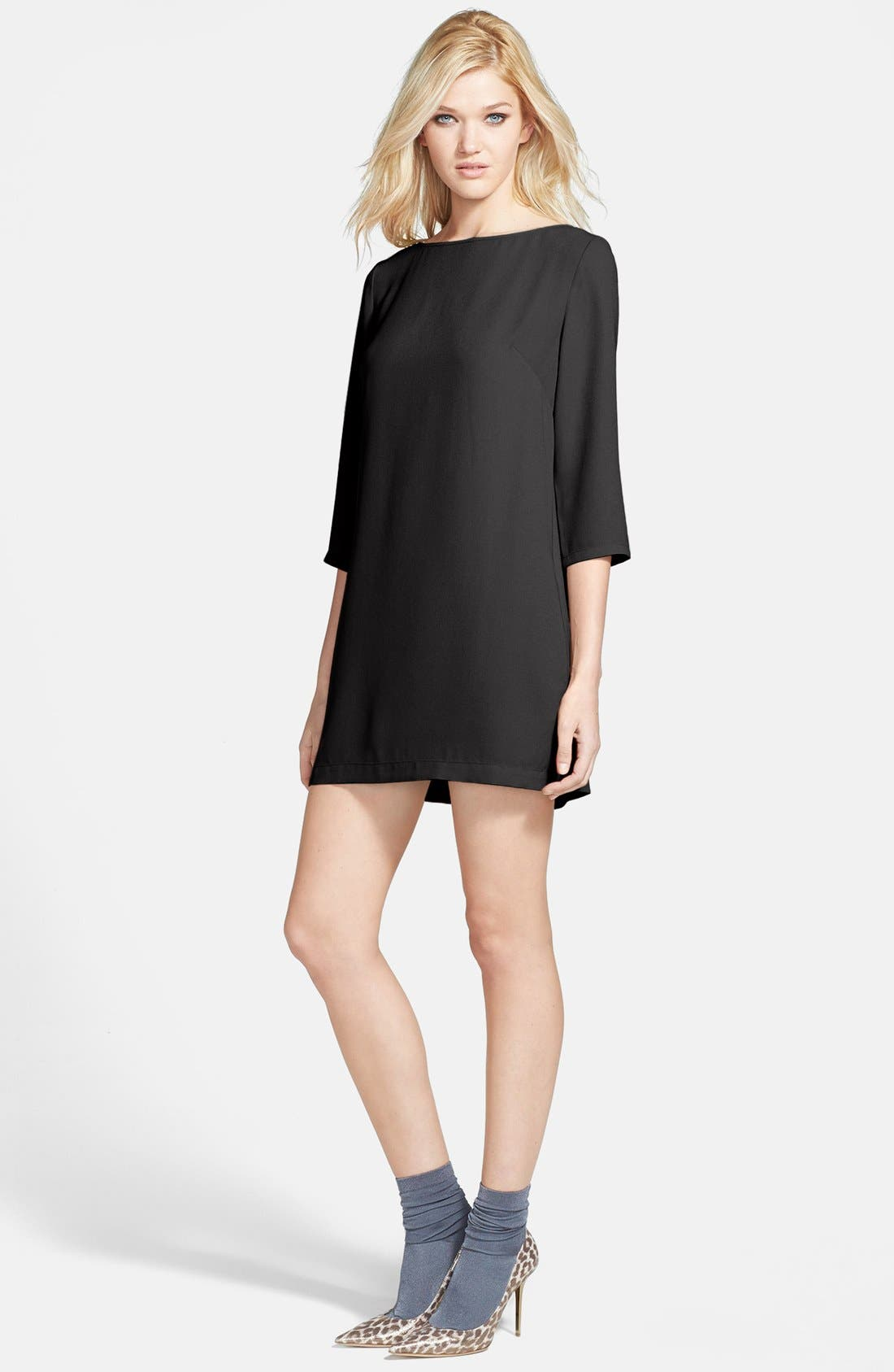 LEITH Boatneck Crepe Shift Dress, Main, color, 001