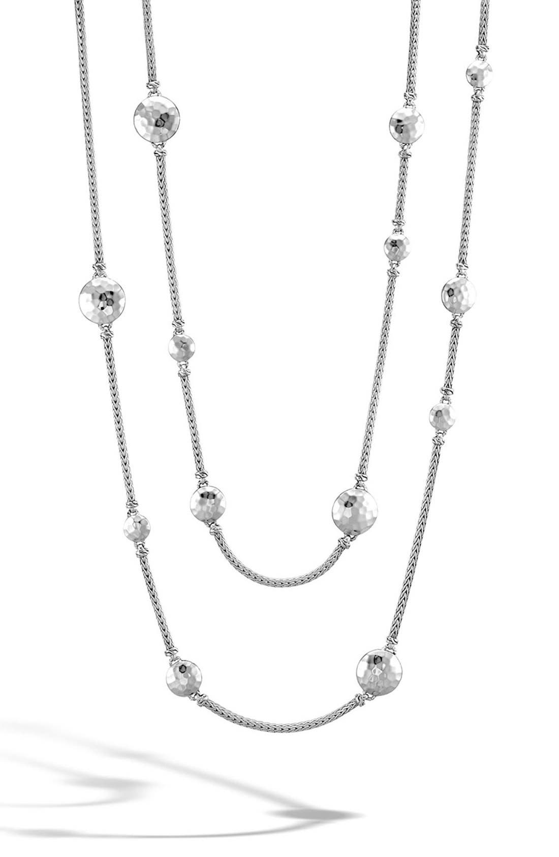 Dot Hammered Station Necklace,                             Alternate thumbnail 2, color,                             SILVER