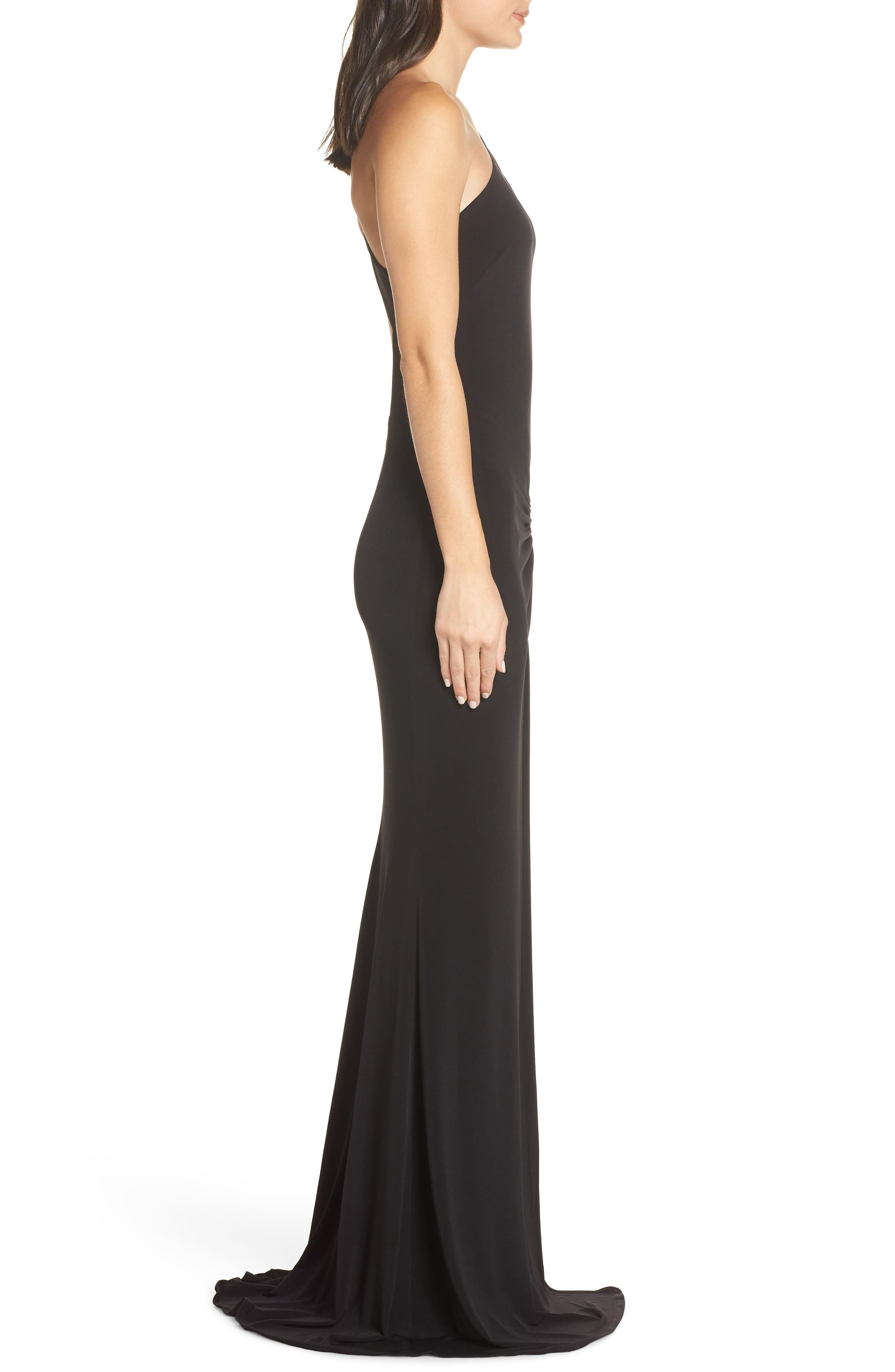 KATIE MAY,                             One-Shoulder Gown,                             Alternate thumbnail 3, color,                             BLACK