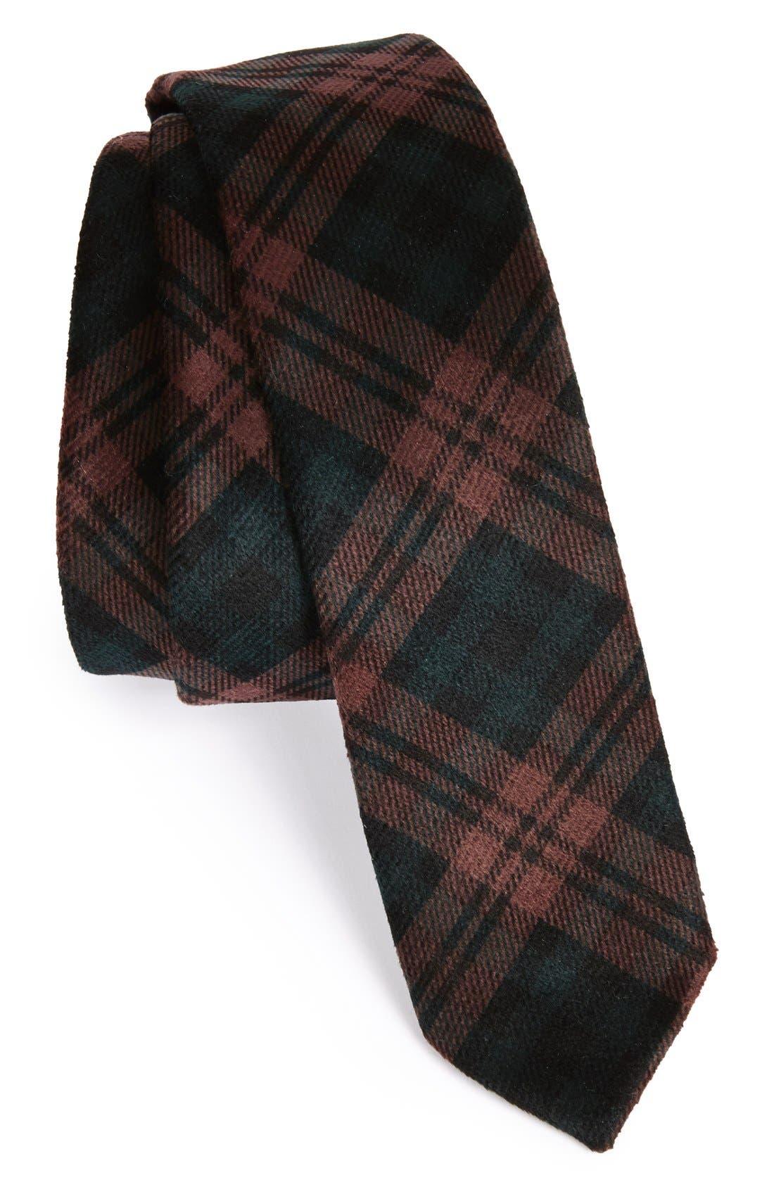 Plaid Velvet Slim Tie,                             Main thumbnail 1, color,                             930