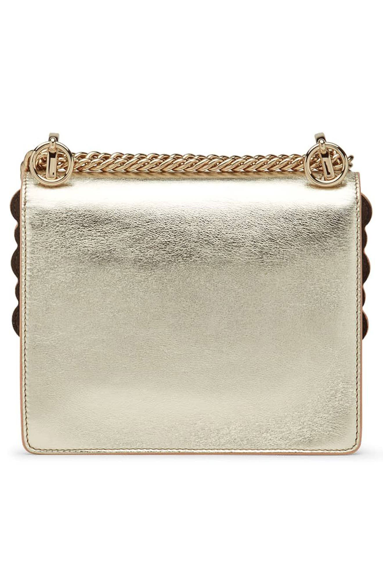 Small Kan I Metallic Leather Shoulder Bag,                             Alternate thumbnail 3, color,                             CHAMPAGNE/ ORO