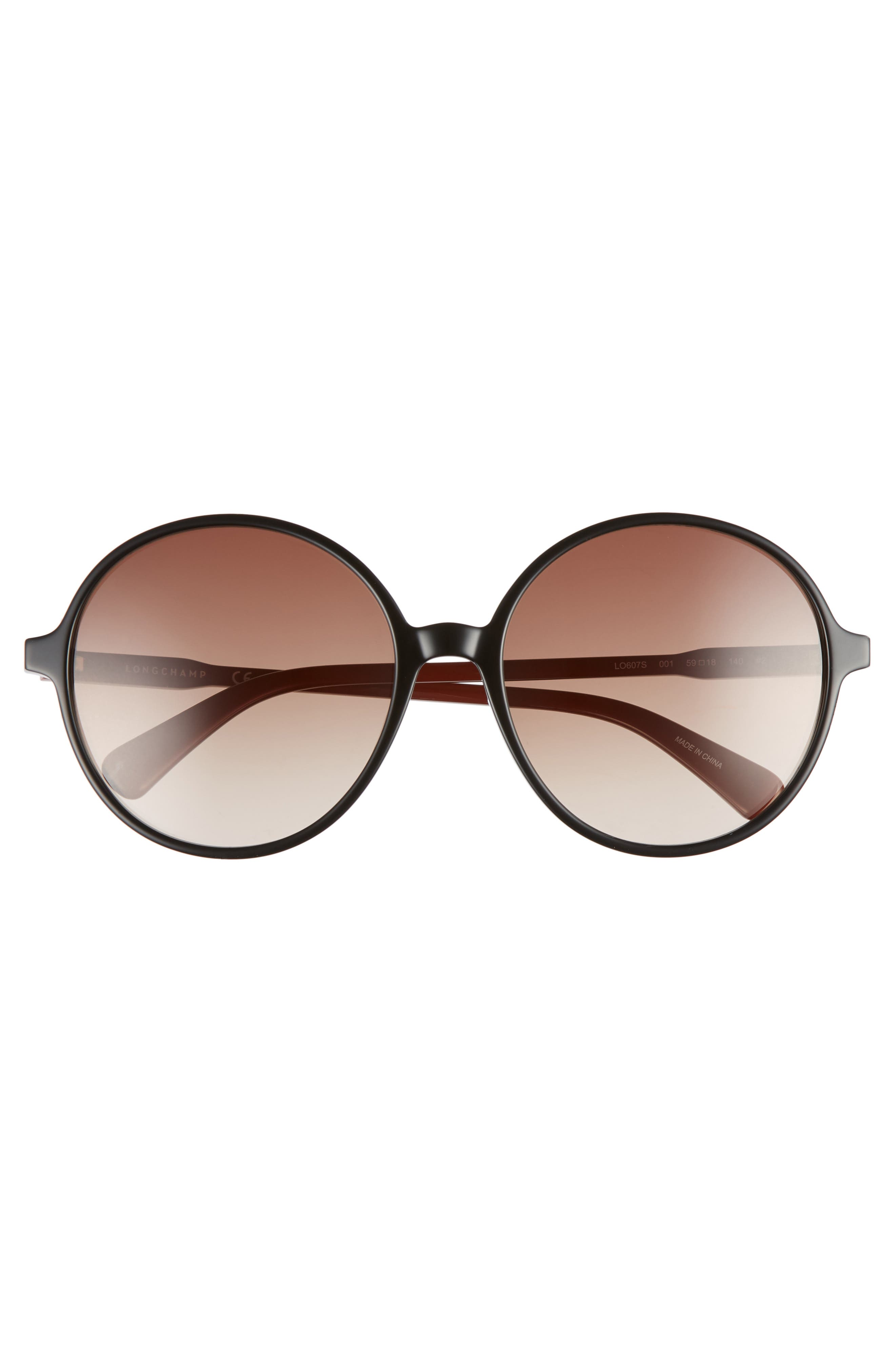 49mm Gradient Round Sunglasses,                             Alternate thumbnail 3, color,                             BLACK