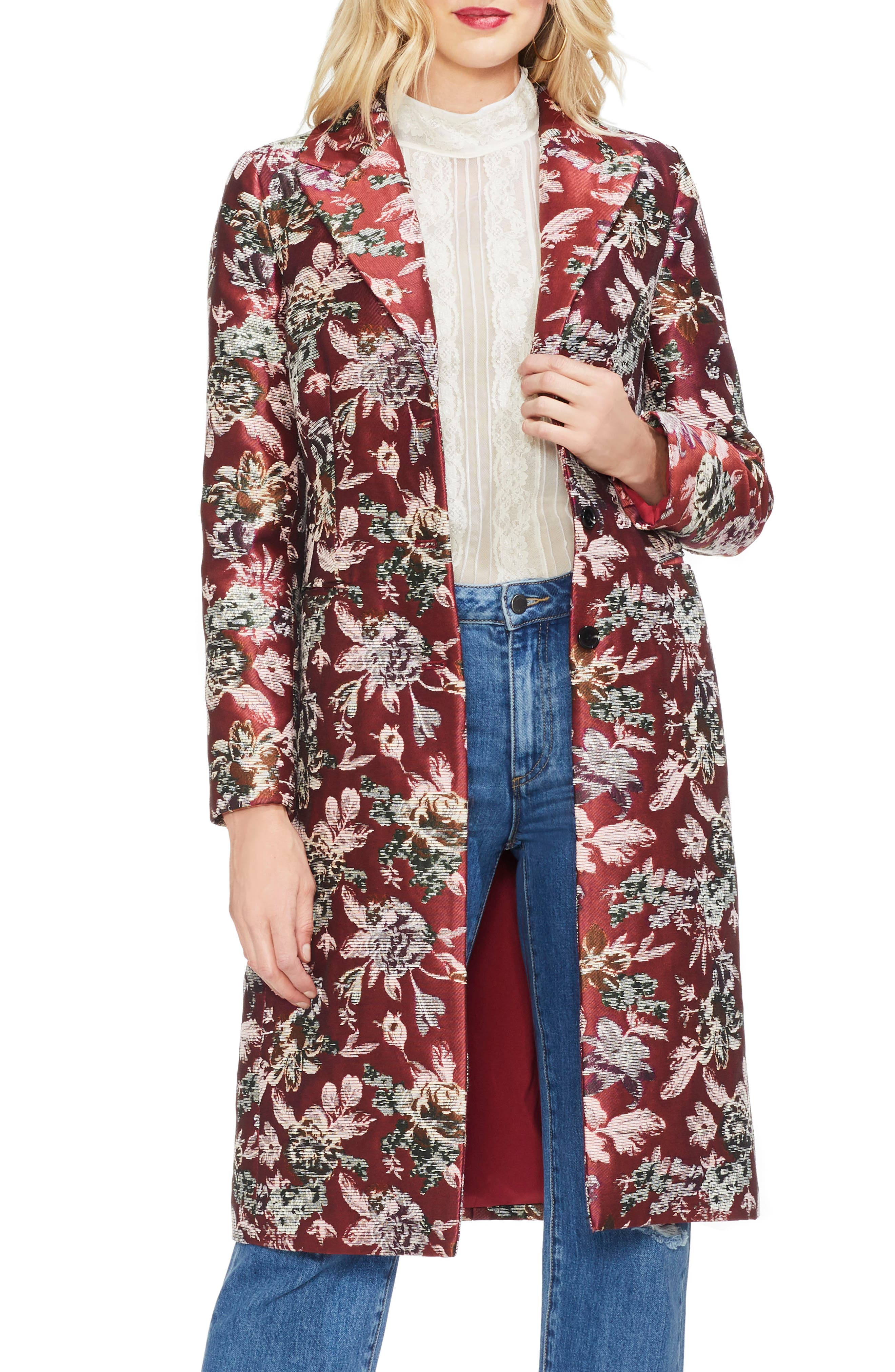 1920s Coats, Flapper Coats, 20s Jackets Womens Vince Camuto Floral Tapestry Topper Coat $113.40 AT vintagedancer.com