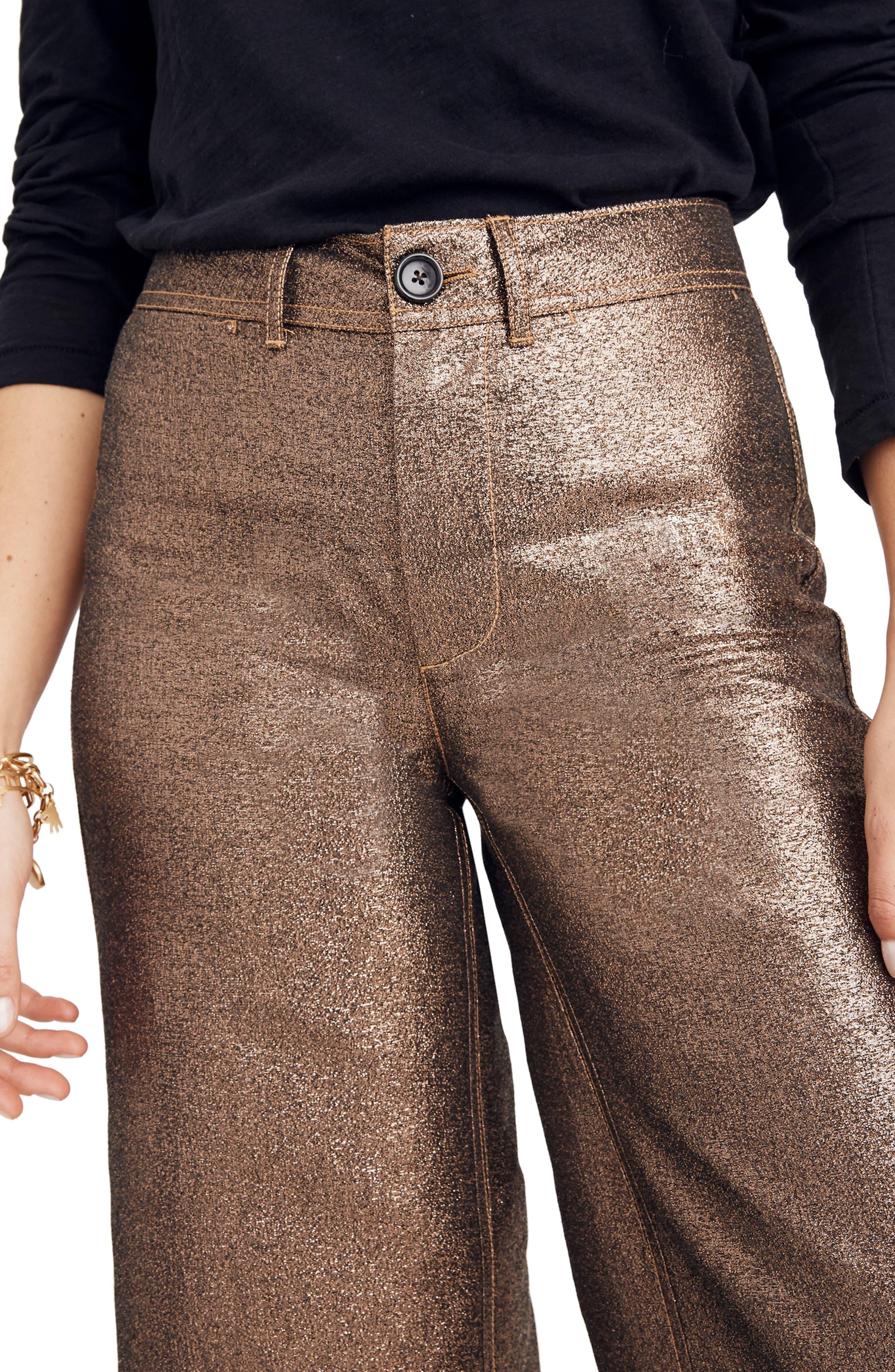 Langford Metallic Crop Wide Leg Pants,                             Alternate thumbnail 4, color,                             METALLIC SAND