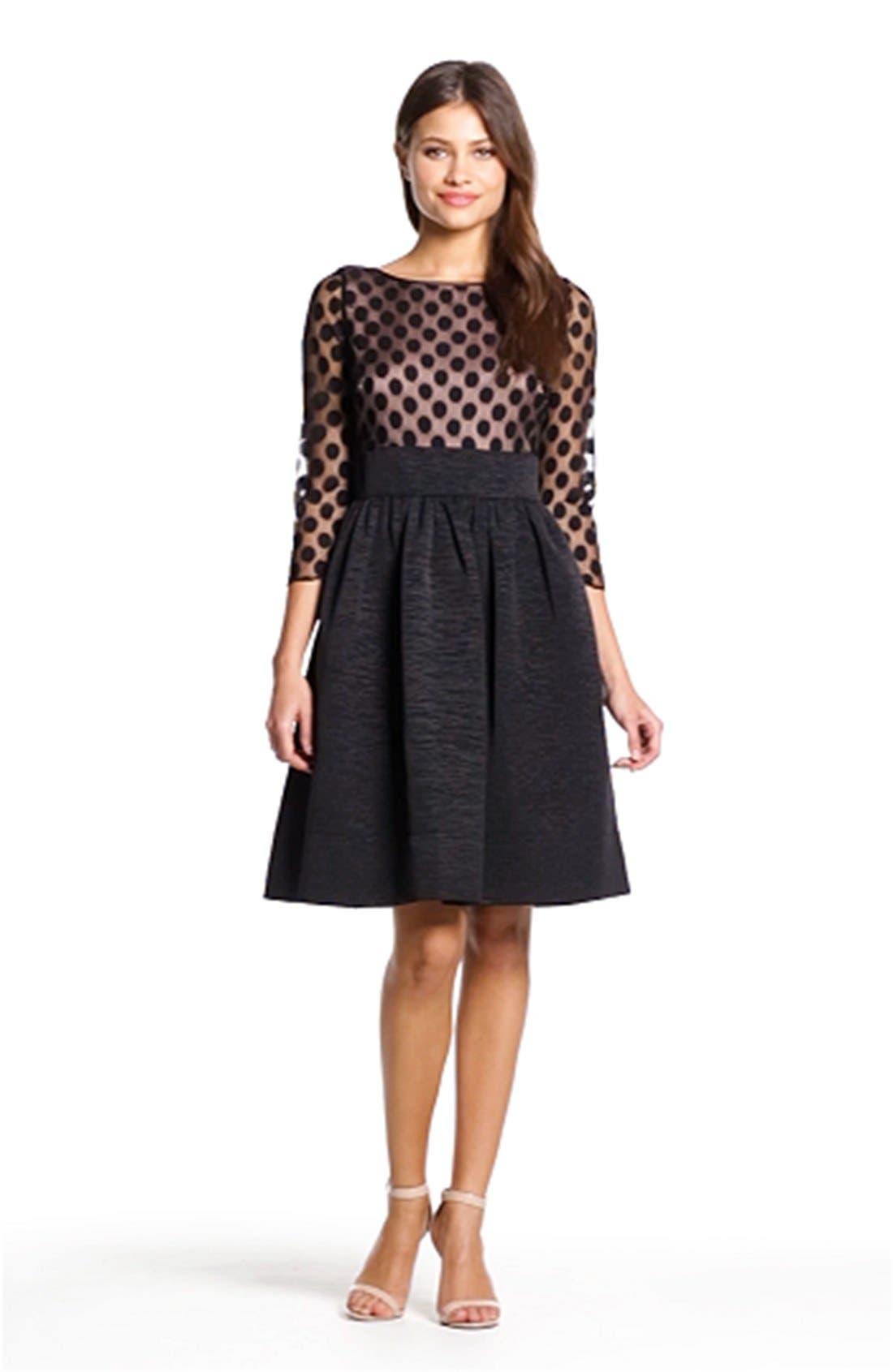 Dot Mesh Bodice Fit & Flare Dress,                             Alternate thumbnail 16, color,
