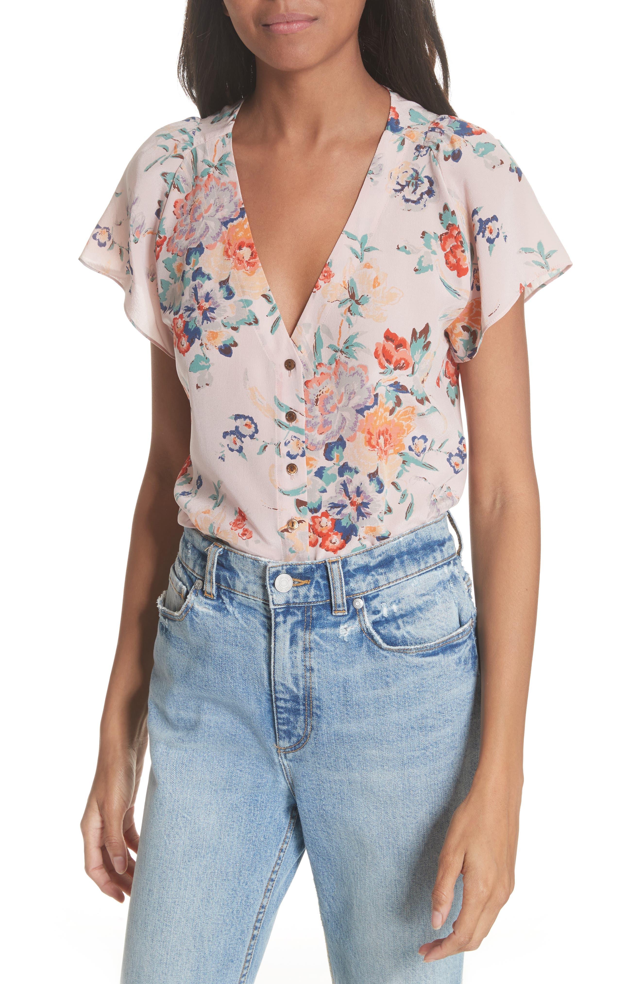 Marlena Floral Silk Blouse,                             Main thumbnail 1, color,
